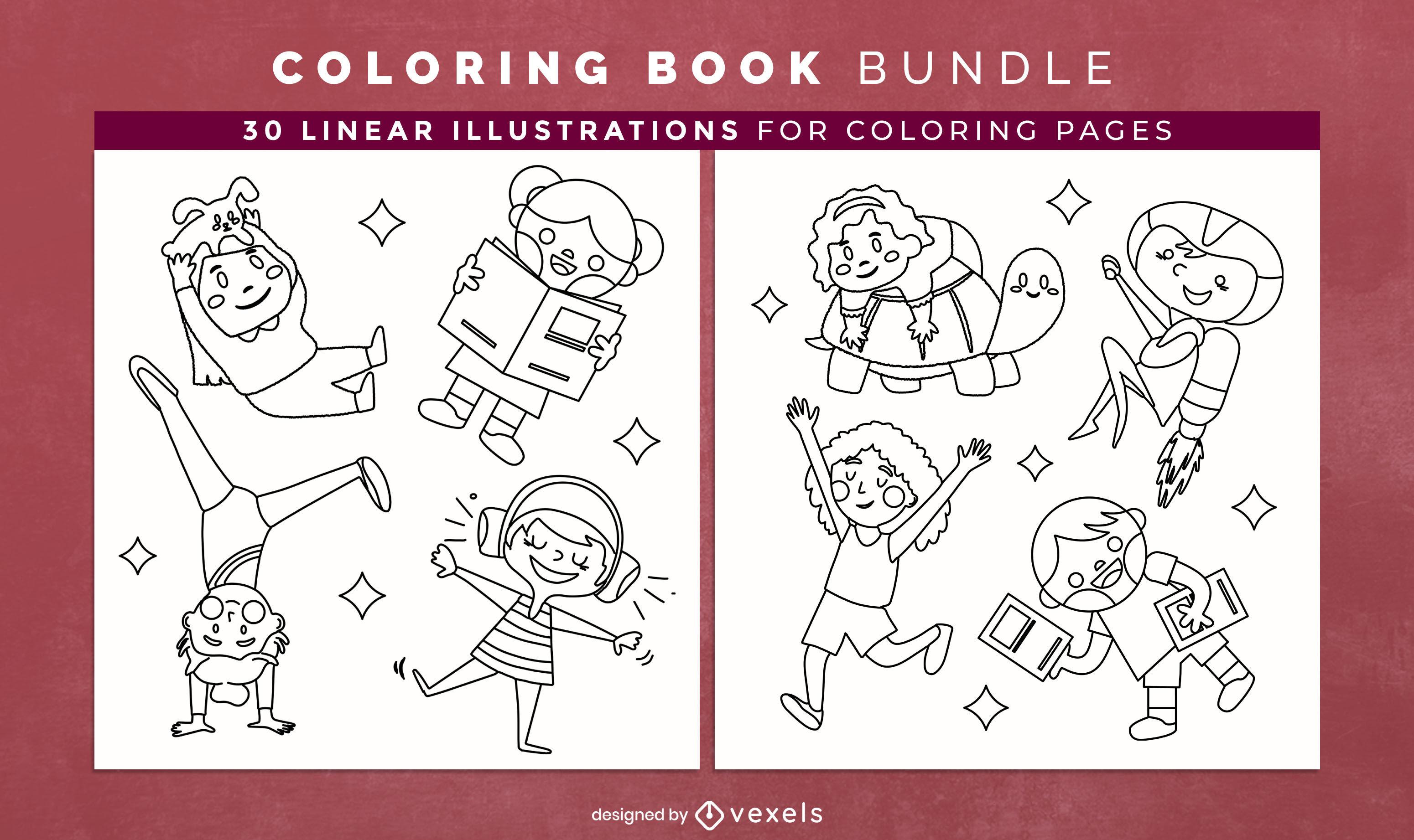 Crianças brincando de desenho de páginas de livros para colorir