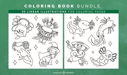 Páginas de diseño de libro para colorear de animales de Axolotl