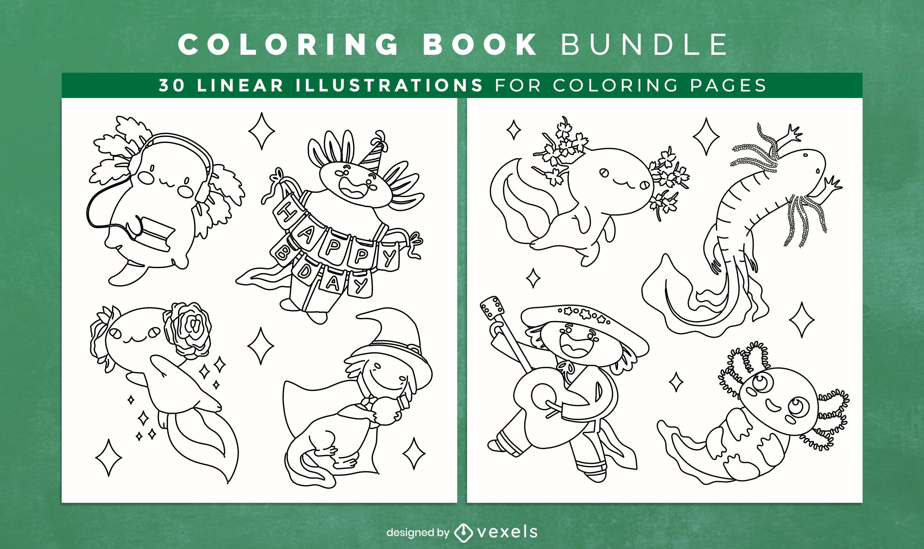 Páginas de design de livro para colorir de animais axolotl