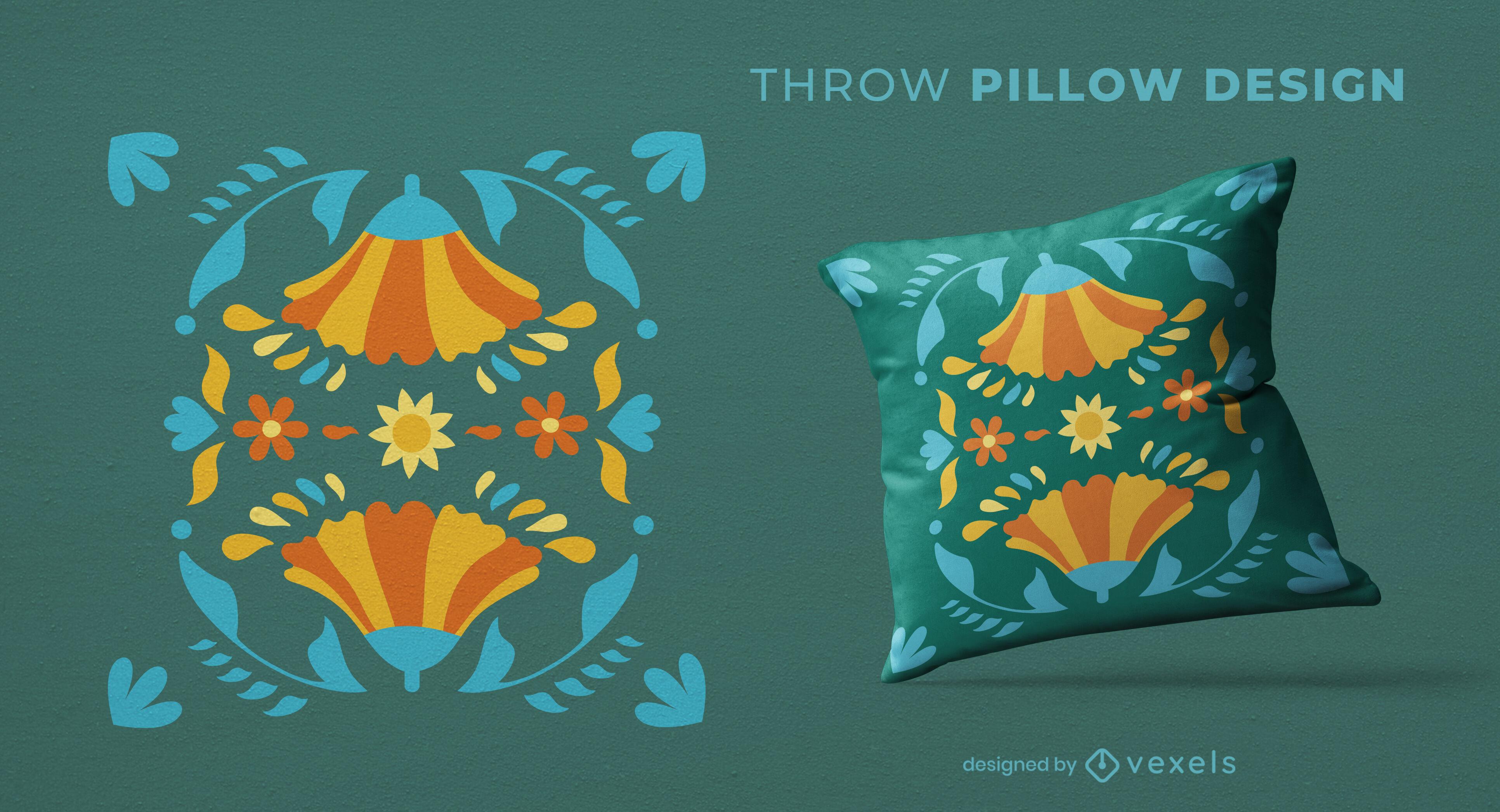 Design de travesseiro decorativo com flores espelhadas