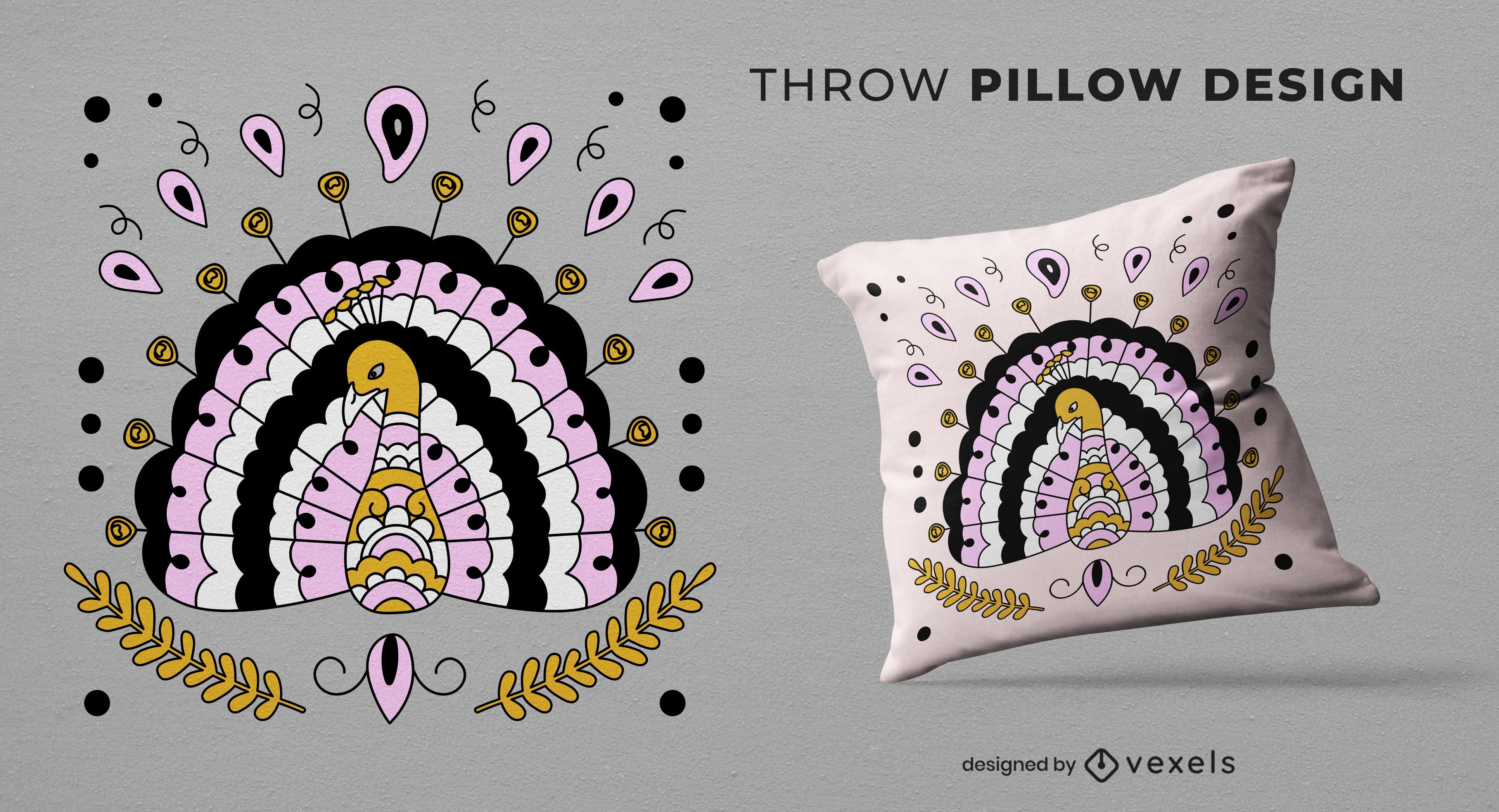Desenho de almofada de animal pavão