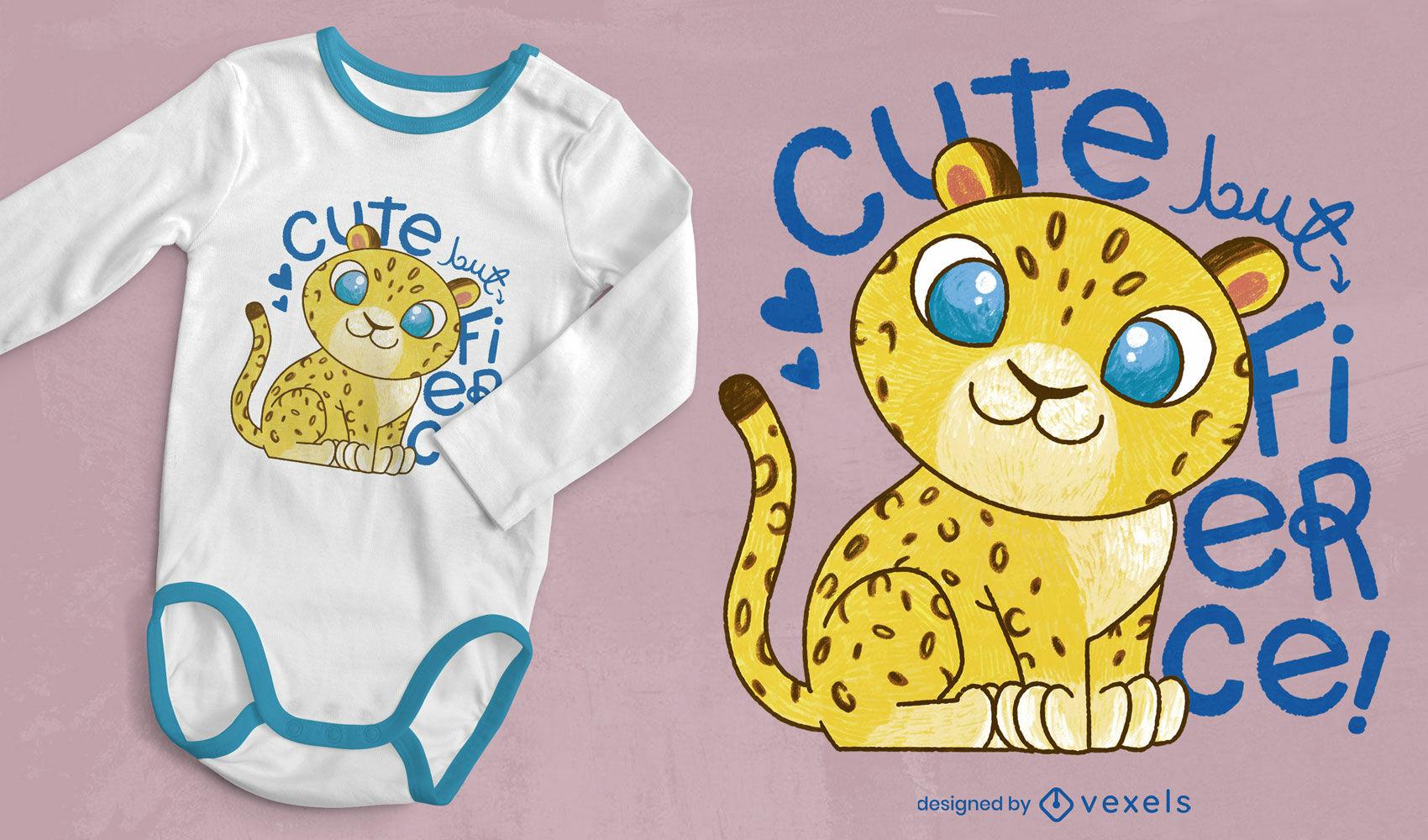 Cute leopard baby psd t-shirt design