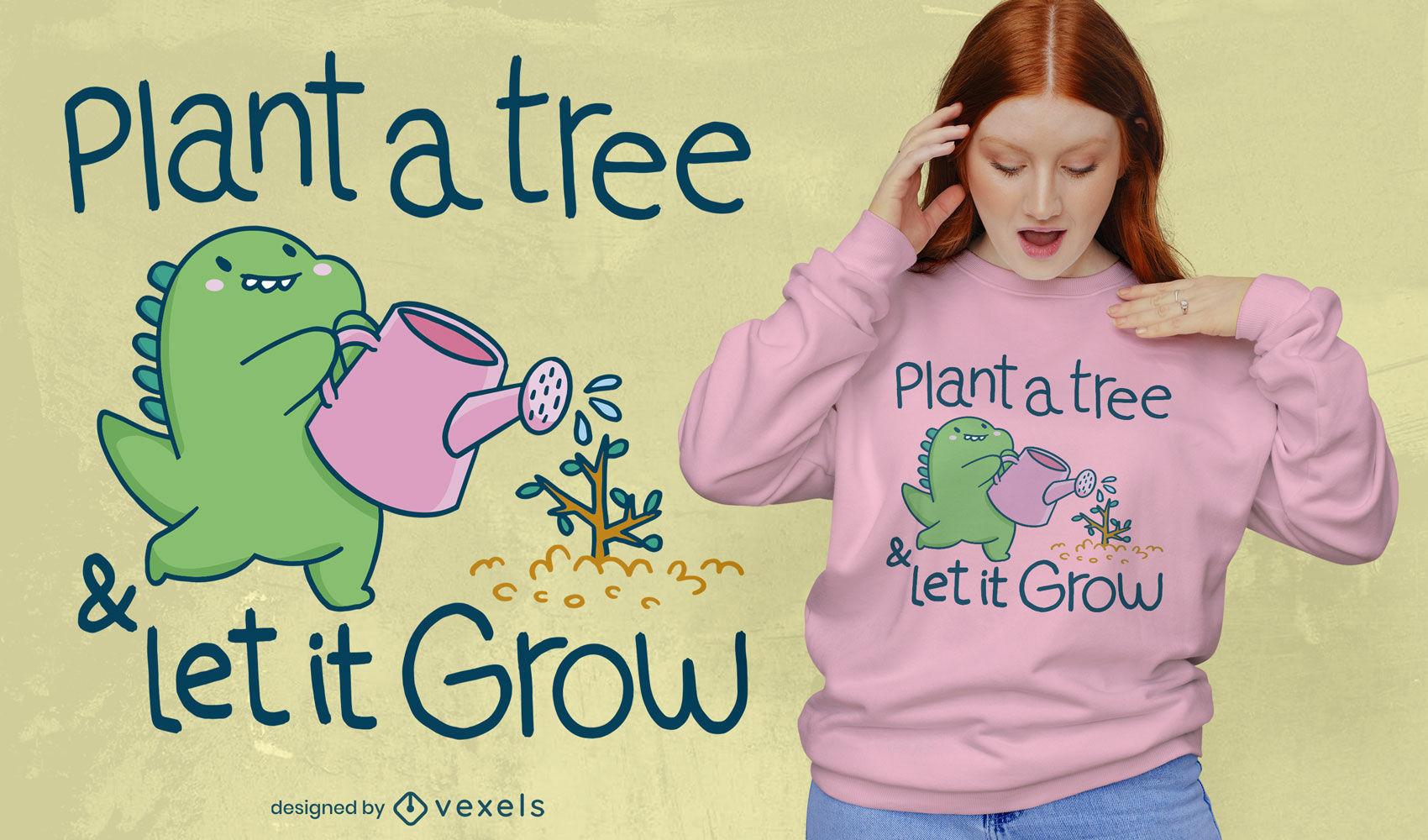 Cute dinosaur gardening t-shirt design