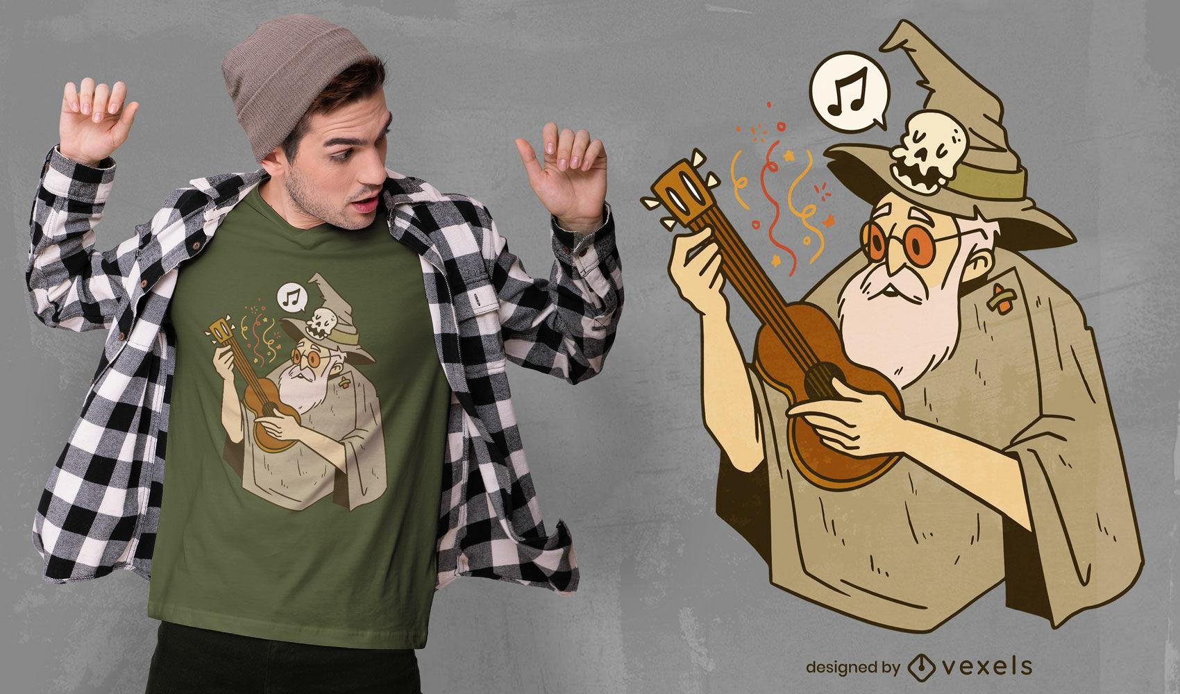 Diseño de camiseta de dibujos animados de ukelele wizard