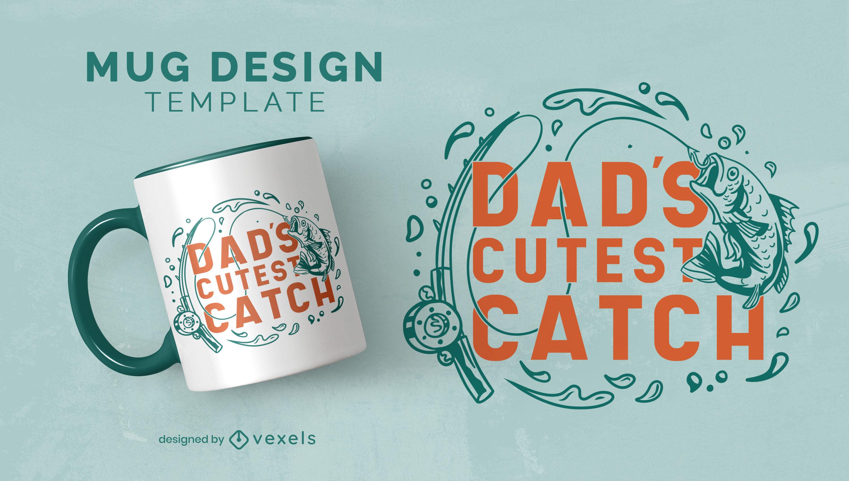 Plantilla de taza de juego de palabras de pesca de pap? de familia