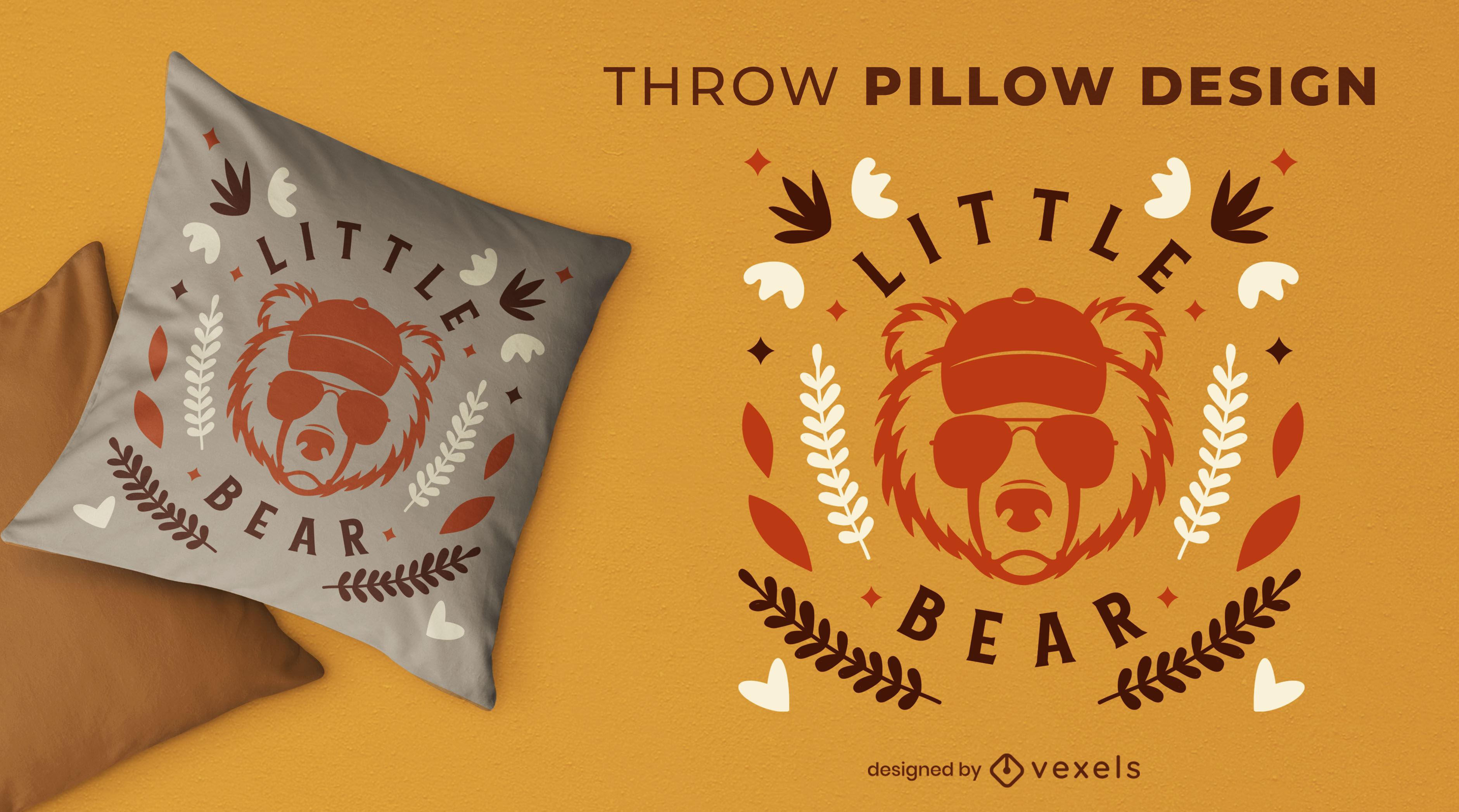 Bear with sunglasses throw pillow design
