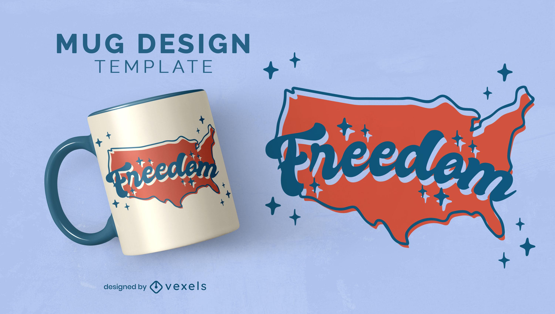 North american map freedom mug design