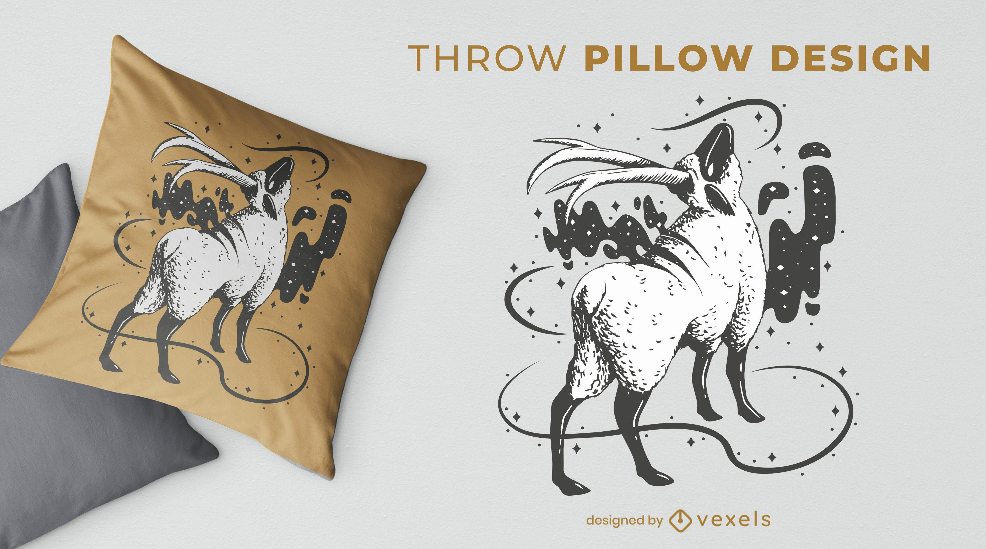 Magical sheep animal throw pillow design