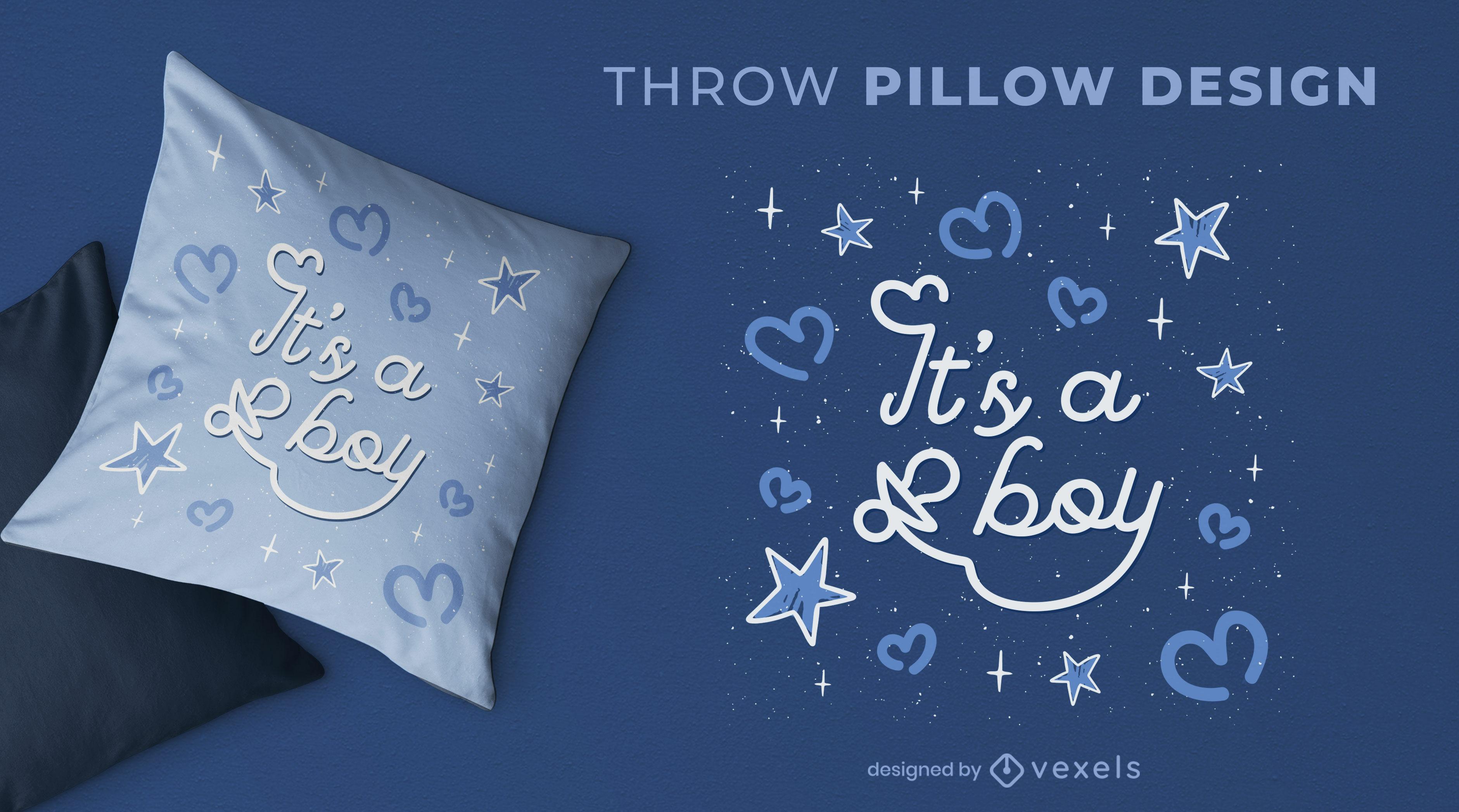 Baby boy gender reveal throw pillow design