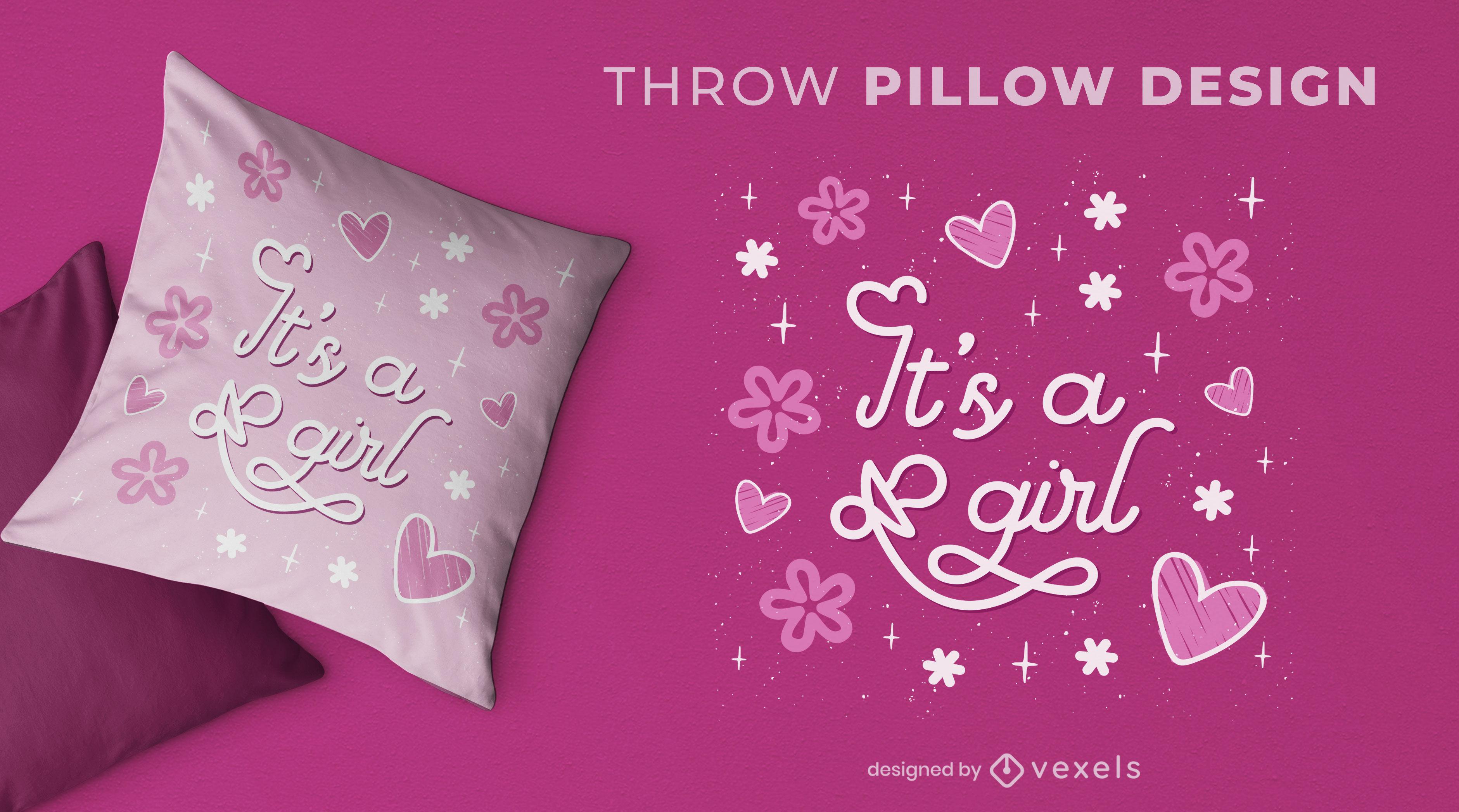 Baby girl gender reveal throw pillow design