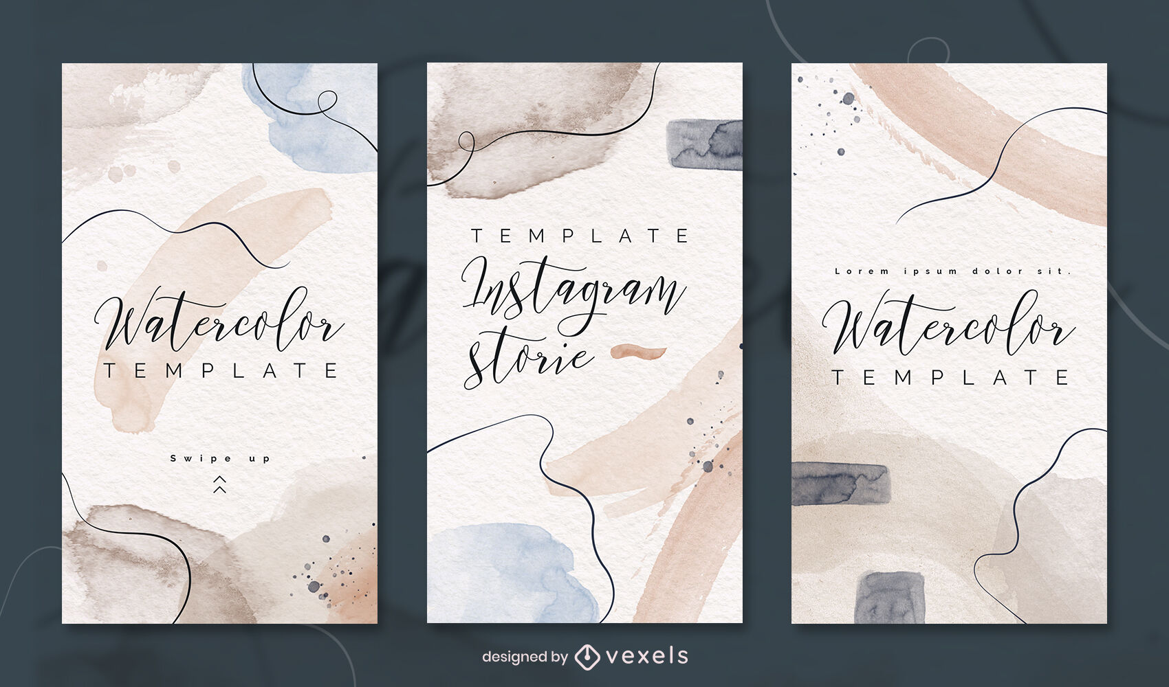 Watercolor strokes instagram story template