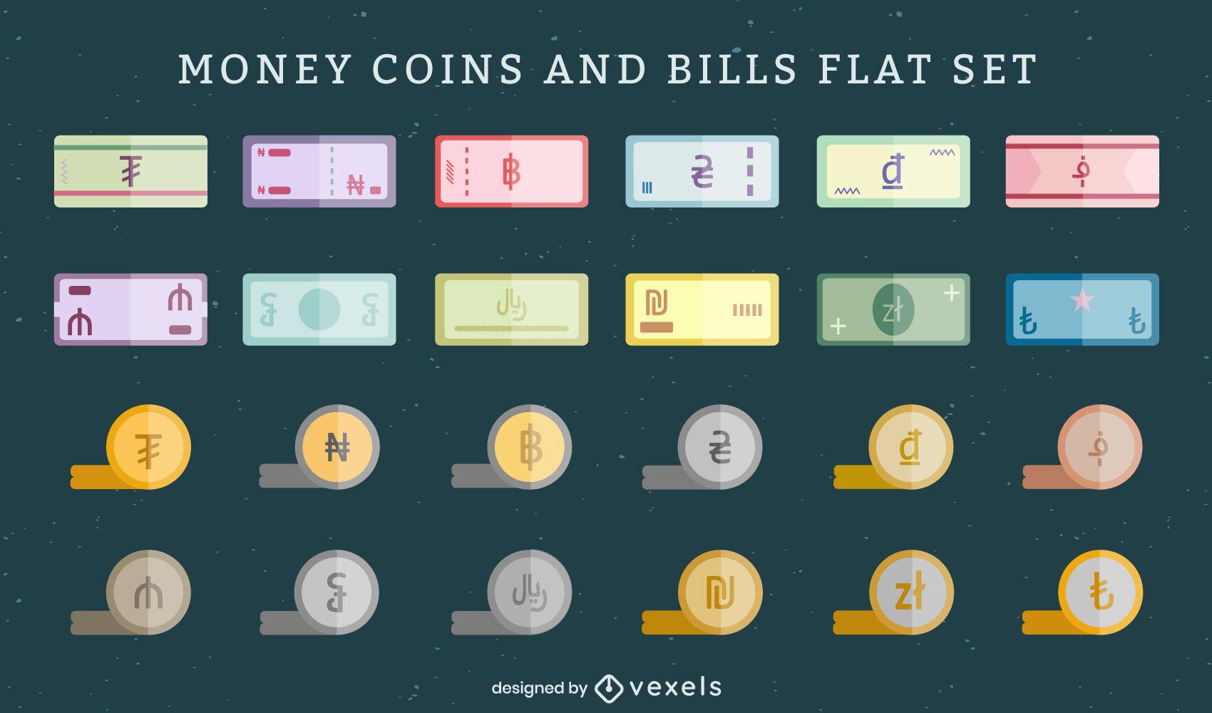 Conjunto de billetes y monedas de dinero en moneda