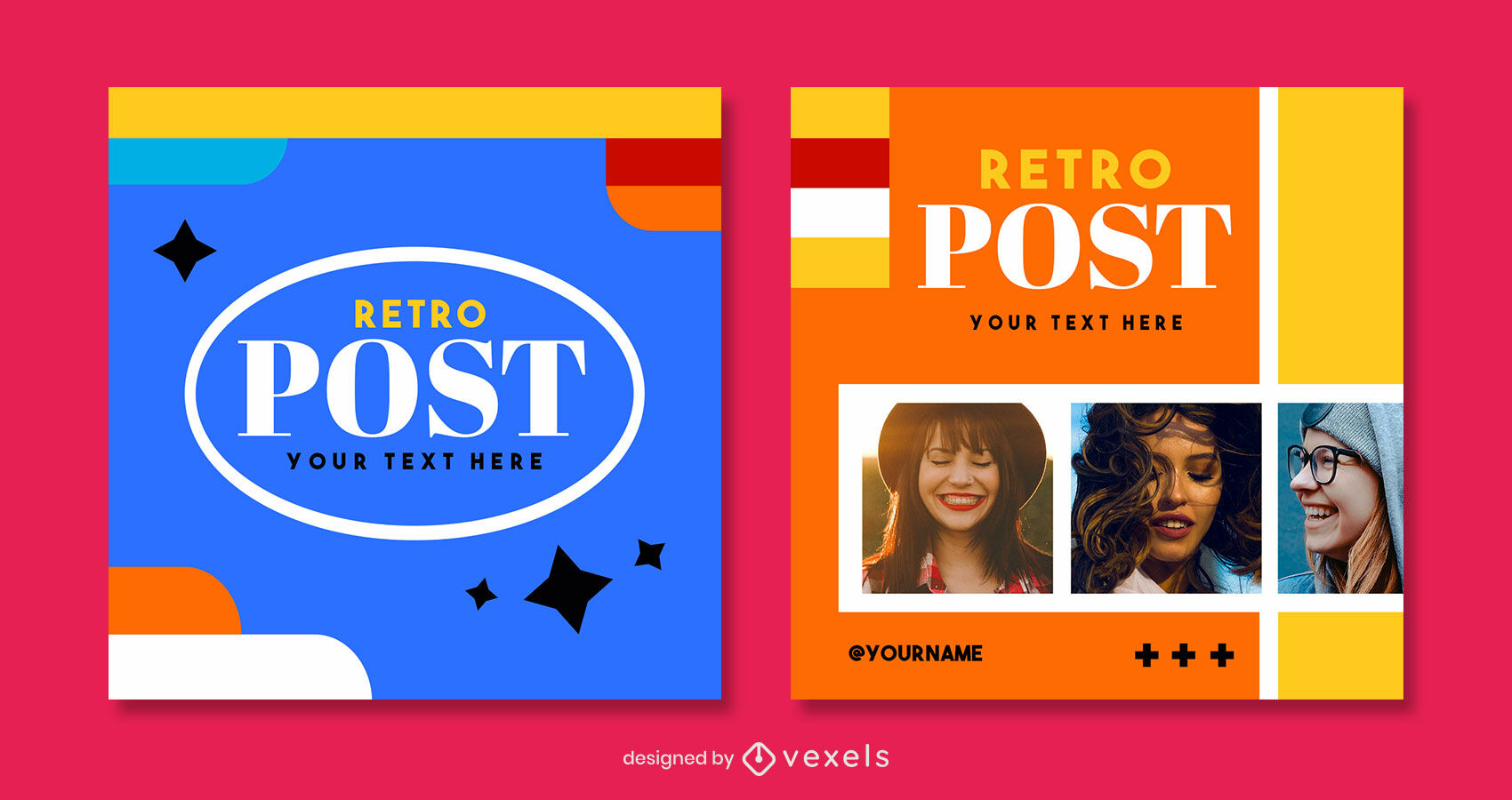 Retro bunte Instagram-Post-Vorlage psd