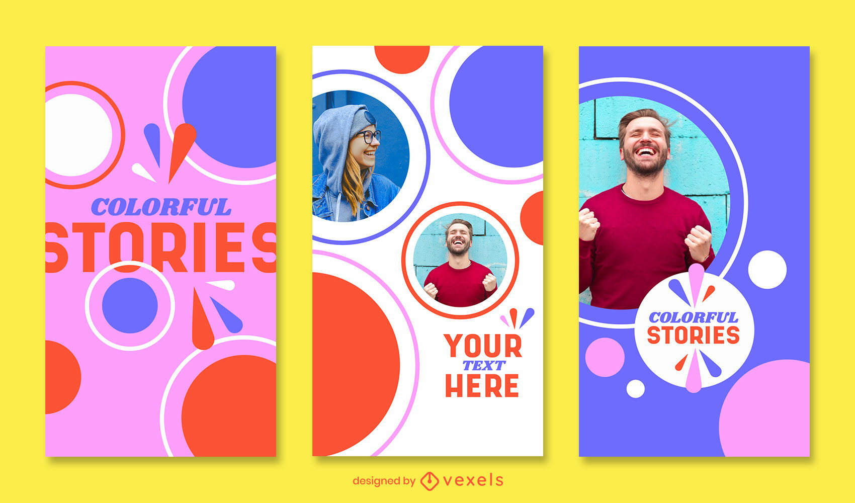 Vintage and colorful shapes instagram story template