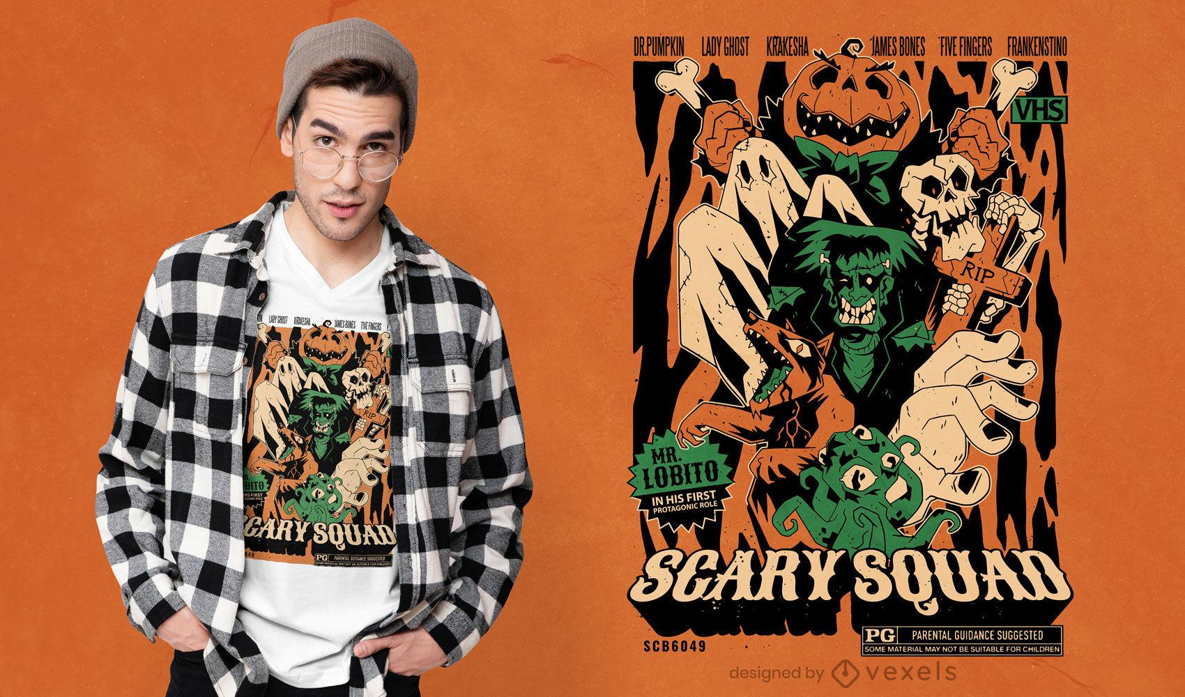 Diseño de camiseta de halloween de monstruos de miedo