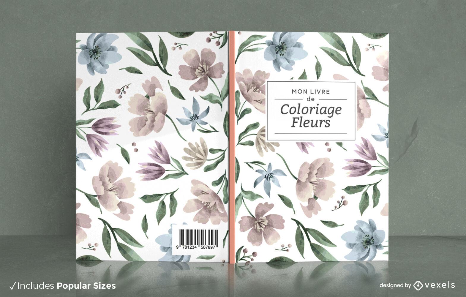 Diseño de portada de hojas y flores de acuarela.