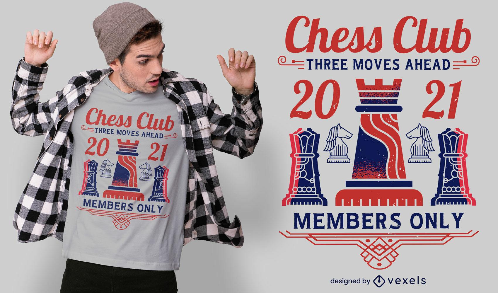 Dise?o de camiseta del club de ajedrez.