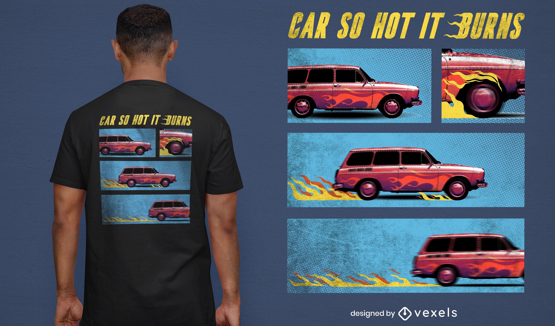 Burning vintage car psd t-shirt design