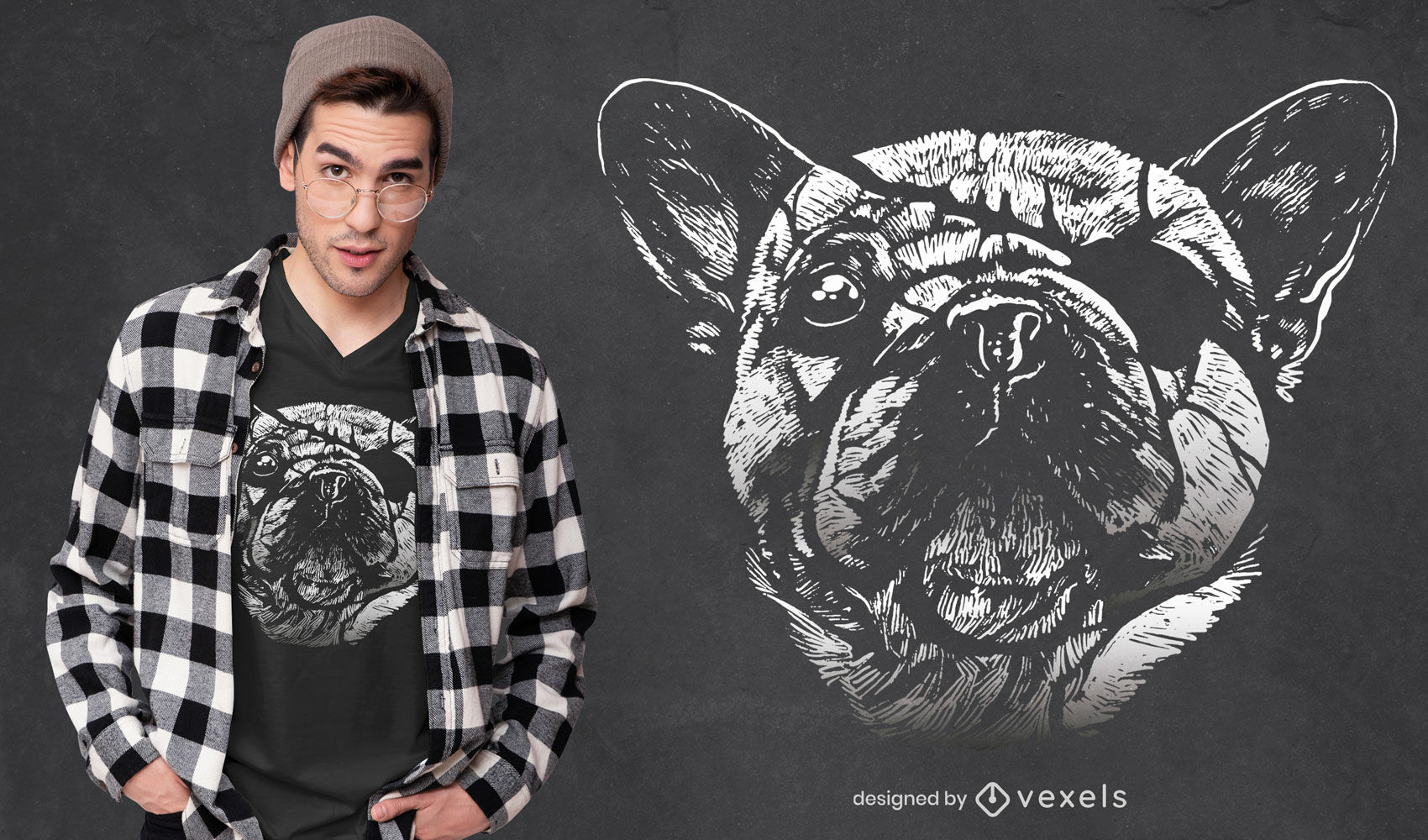 Hunde-T-Shirt-Design mit Augenklappe
