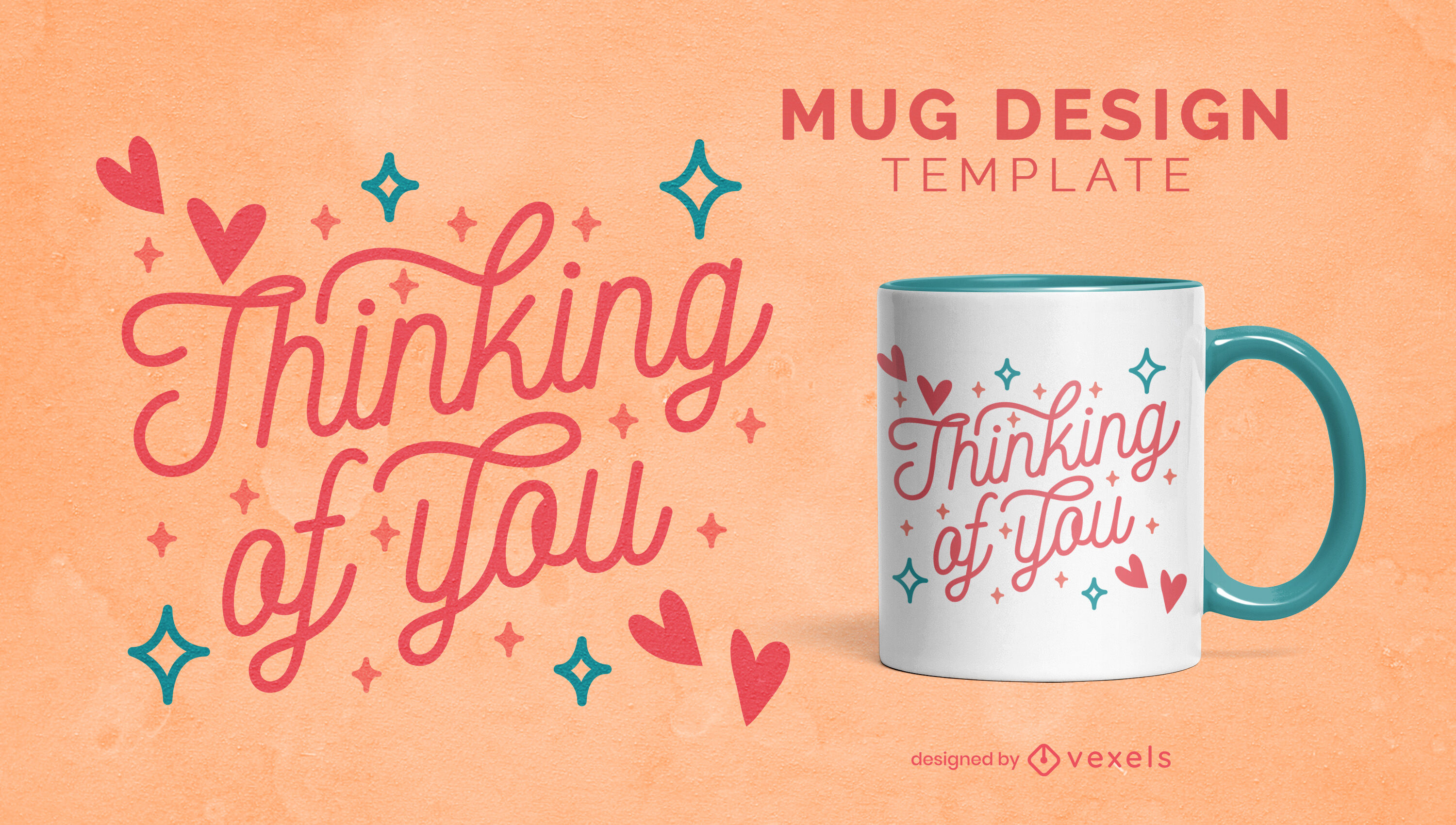 Thinking of you love lettering mug template