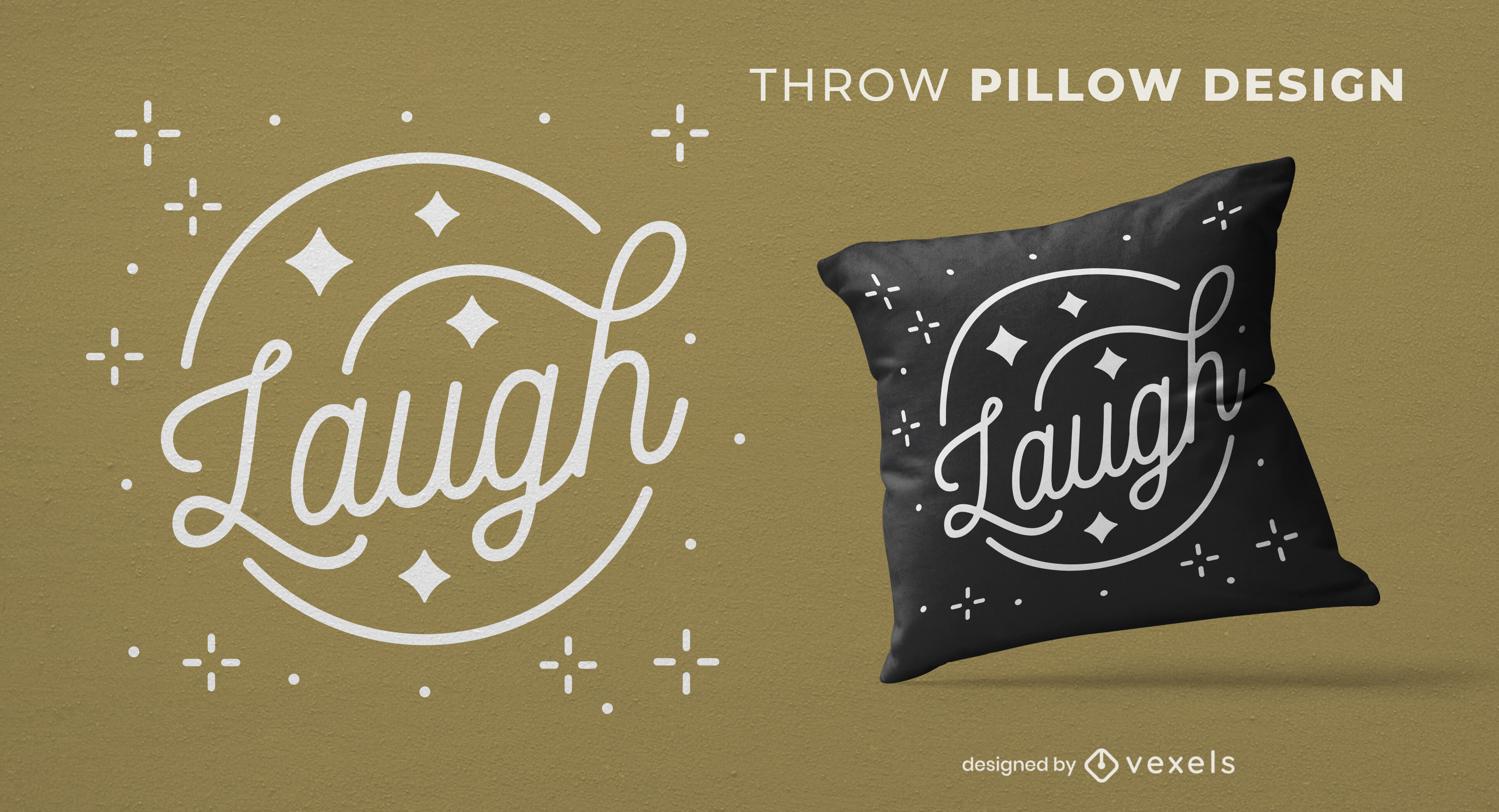 Laugh sparkly lettering throw pillow design