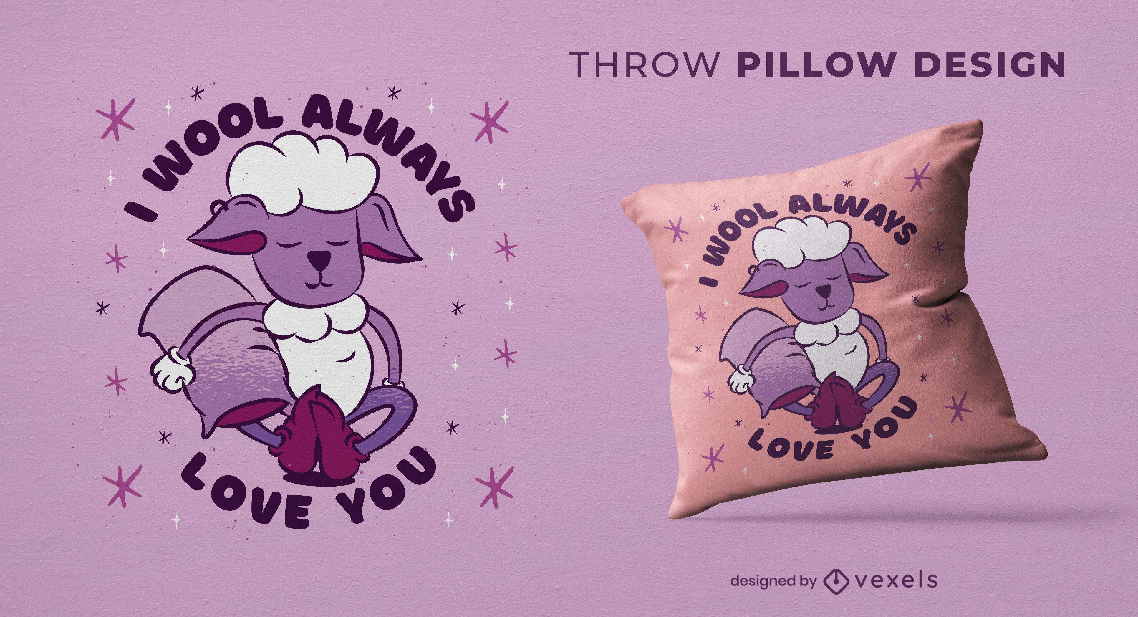 Sheep animal pun throw pillow design
