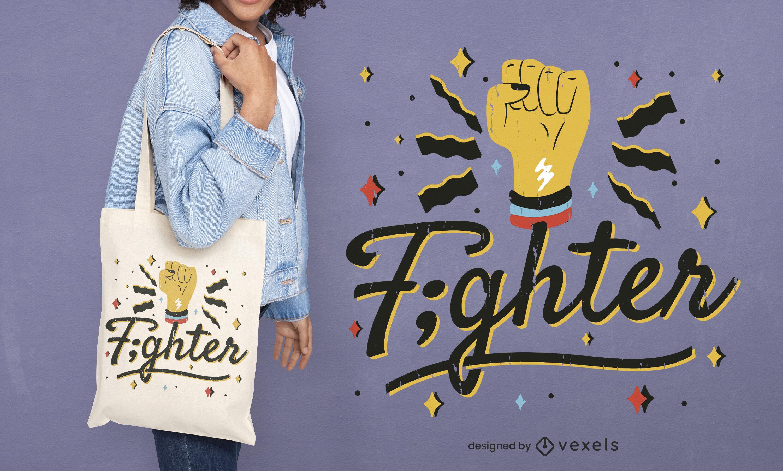 Fist fighter symbol tote bag design