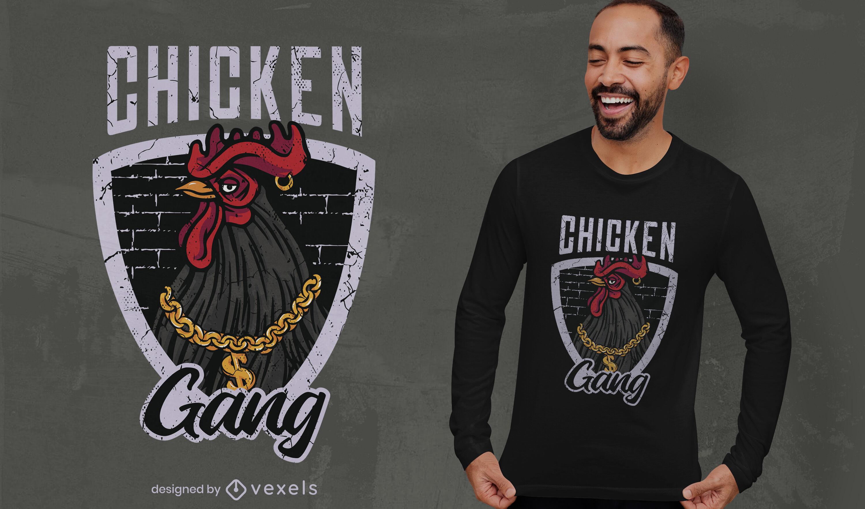 Diseño de camiseta de gángster animal de pollo.