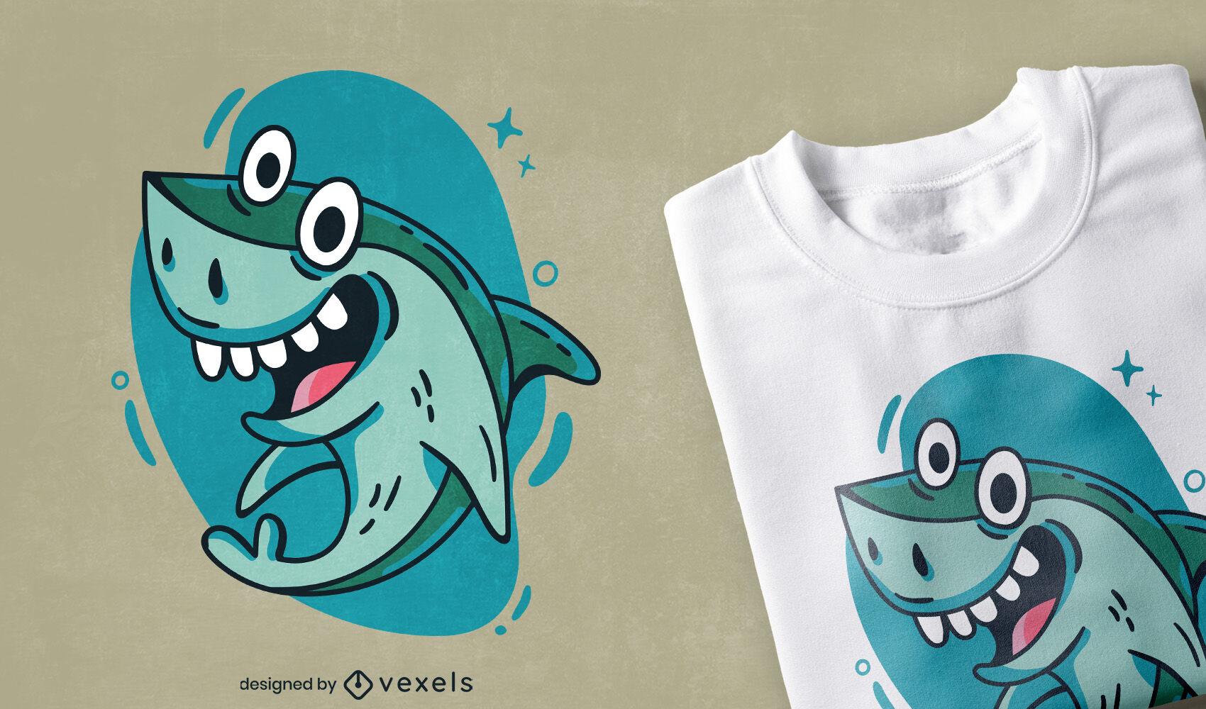 Diseño de camiseta de animal marino de tiburón de dibujos animados