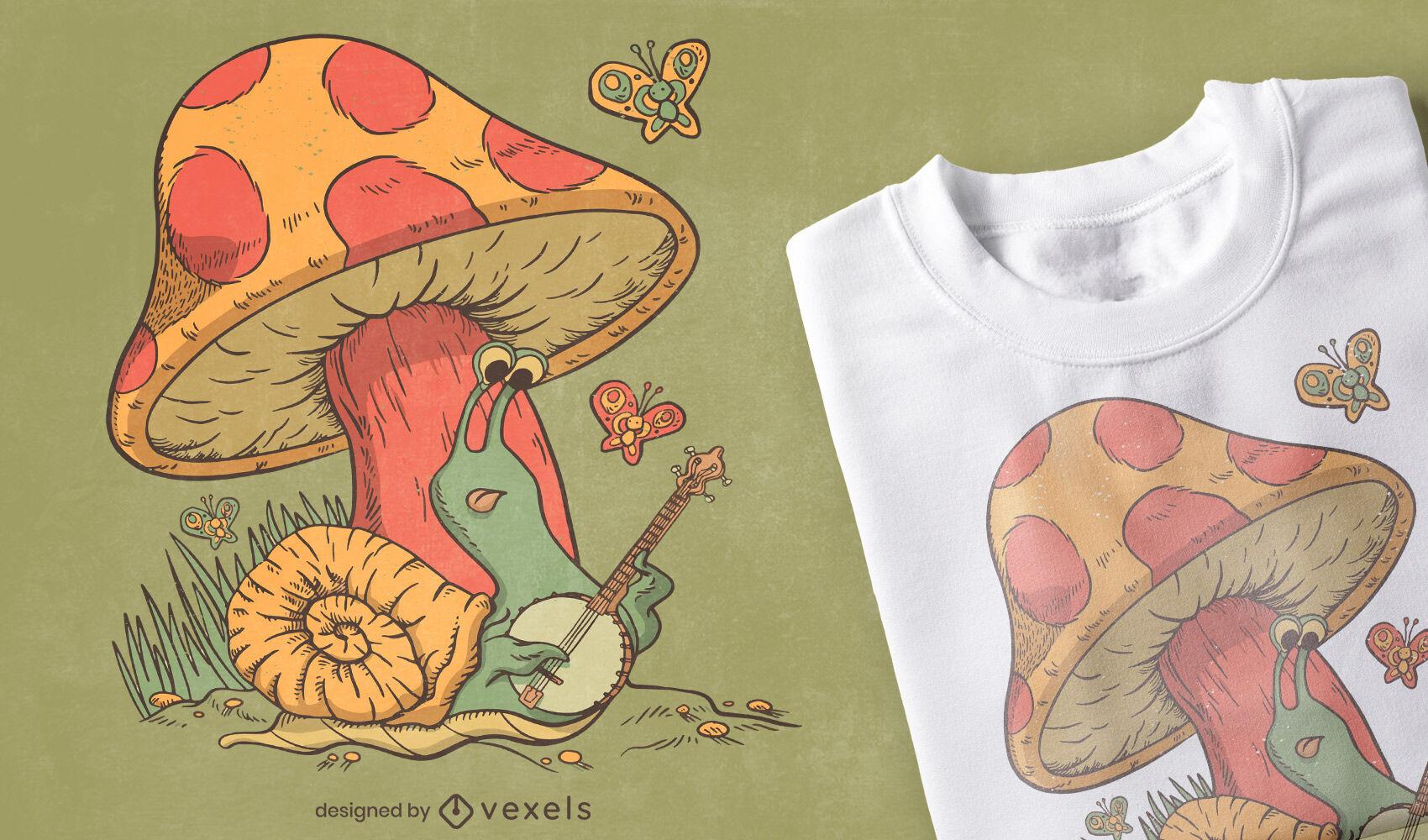 Caracol tocando banjo e design de camiseta de cogumelo