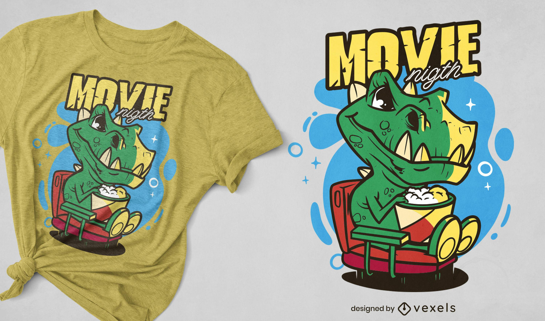 Dinosaur watching movie t-shirt design
