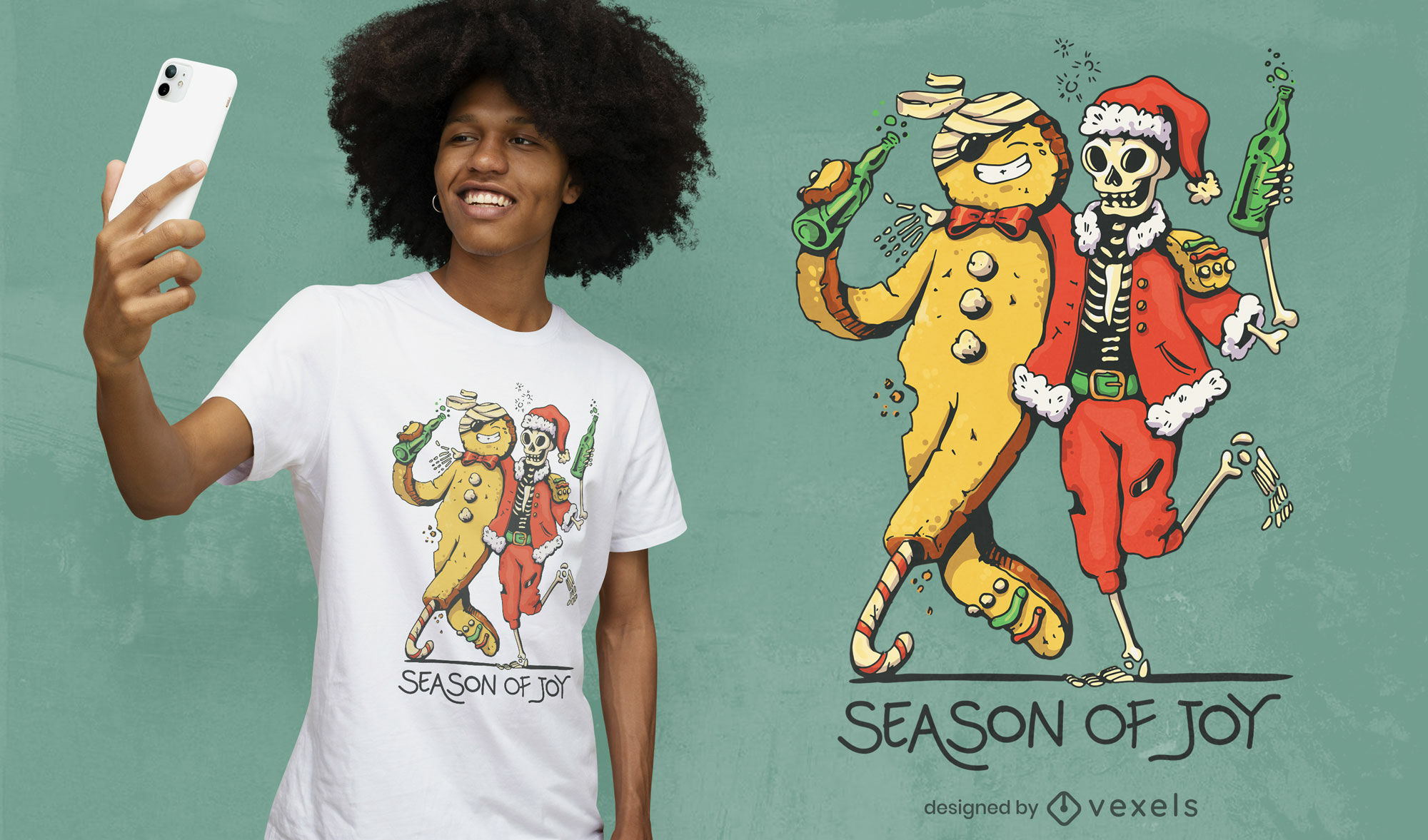 Genial diseño de camiseta de esqueleto anti navideño.