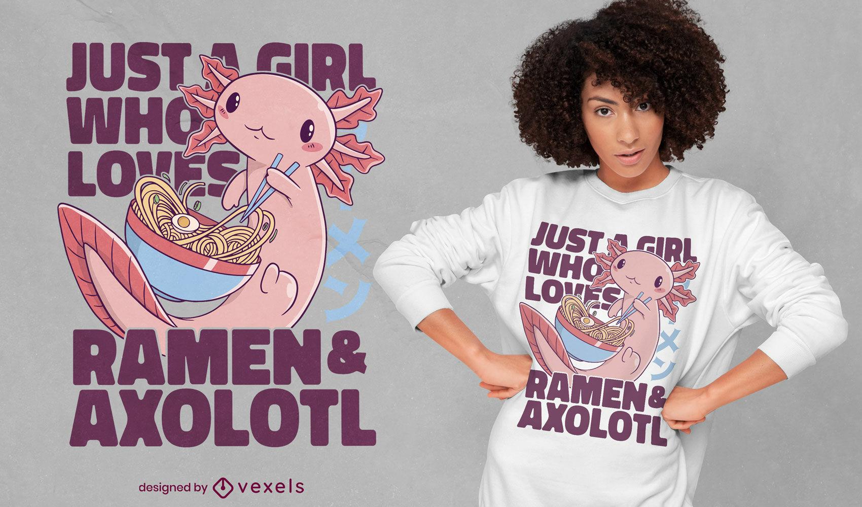 Chica que ama el dise?o de camisetas de axolotls y ramen