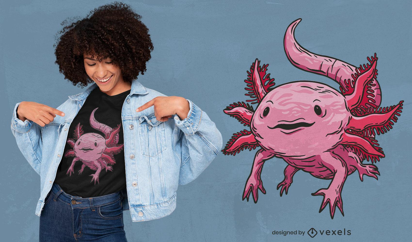 Realistic pink axolotl t-shirt design