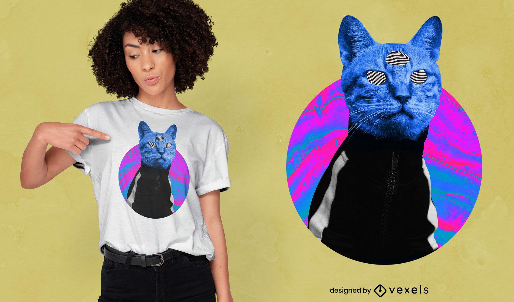 Diseño de camiseta psicodélica trippy cat psd
