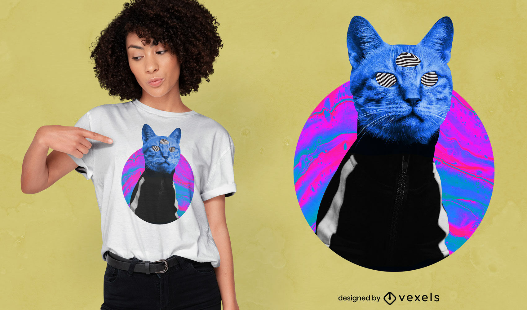 Psychedelic trippy cat psd t-shirt design