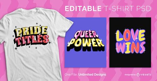 Diseño de camiseta psd escalable brillante con letras de orgullo