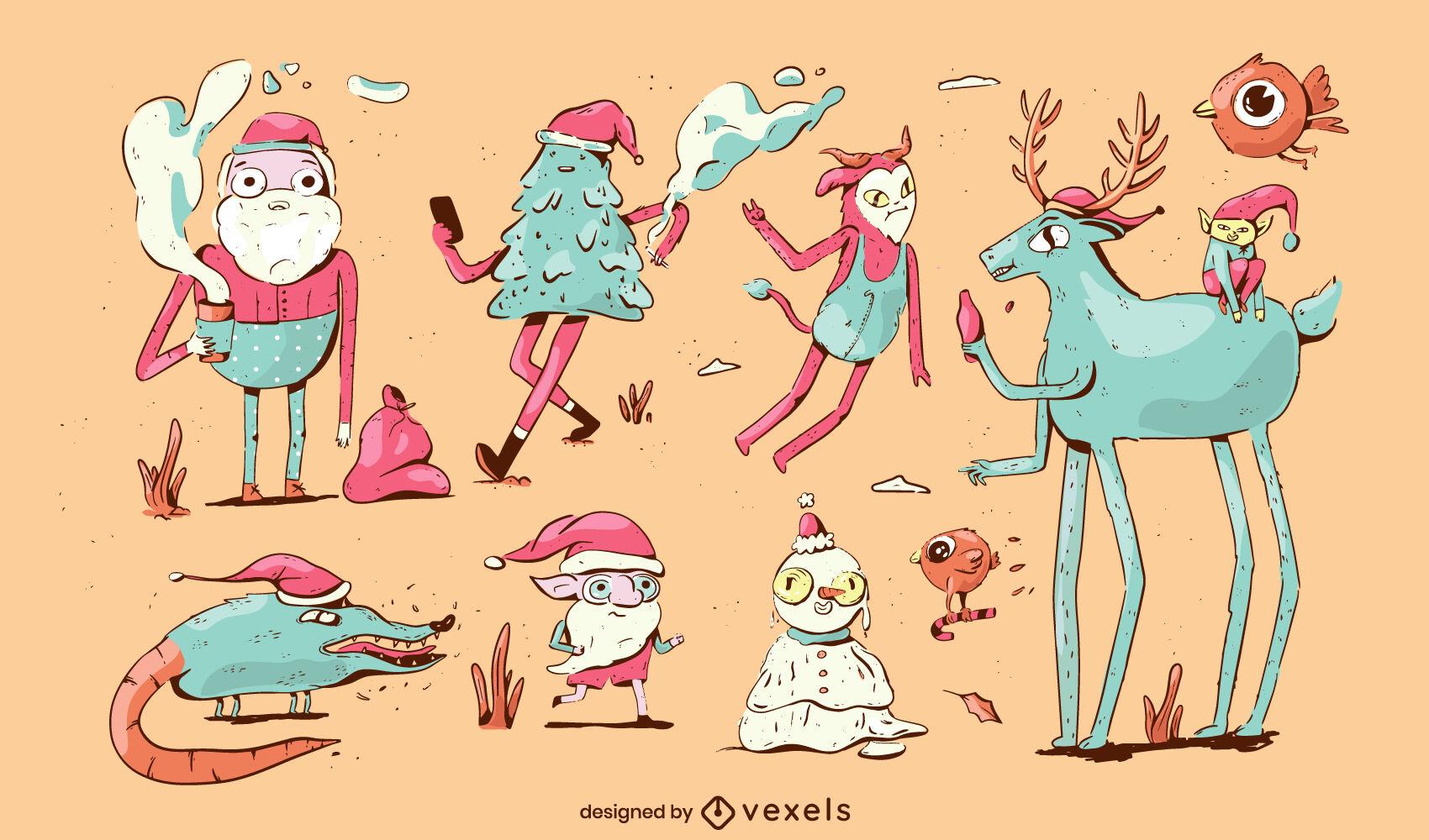 Christmas holiday doodle character set