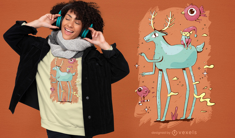 Lindo diseño de camiseta de criaturas navideñas.
