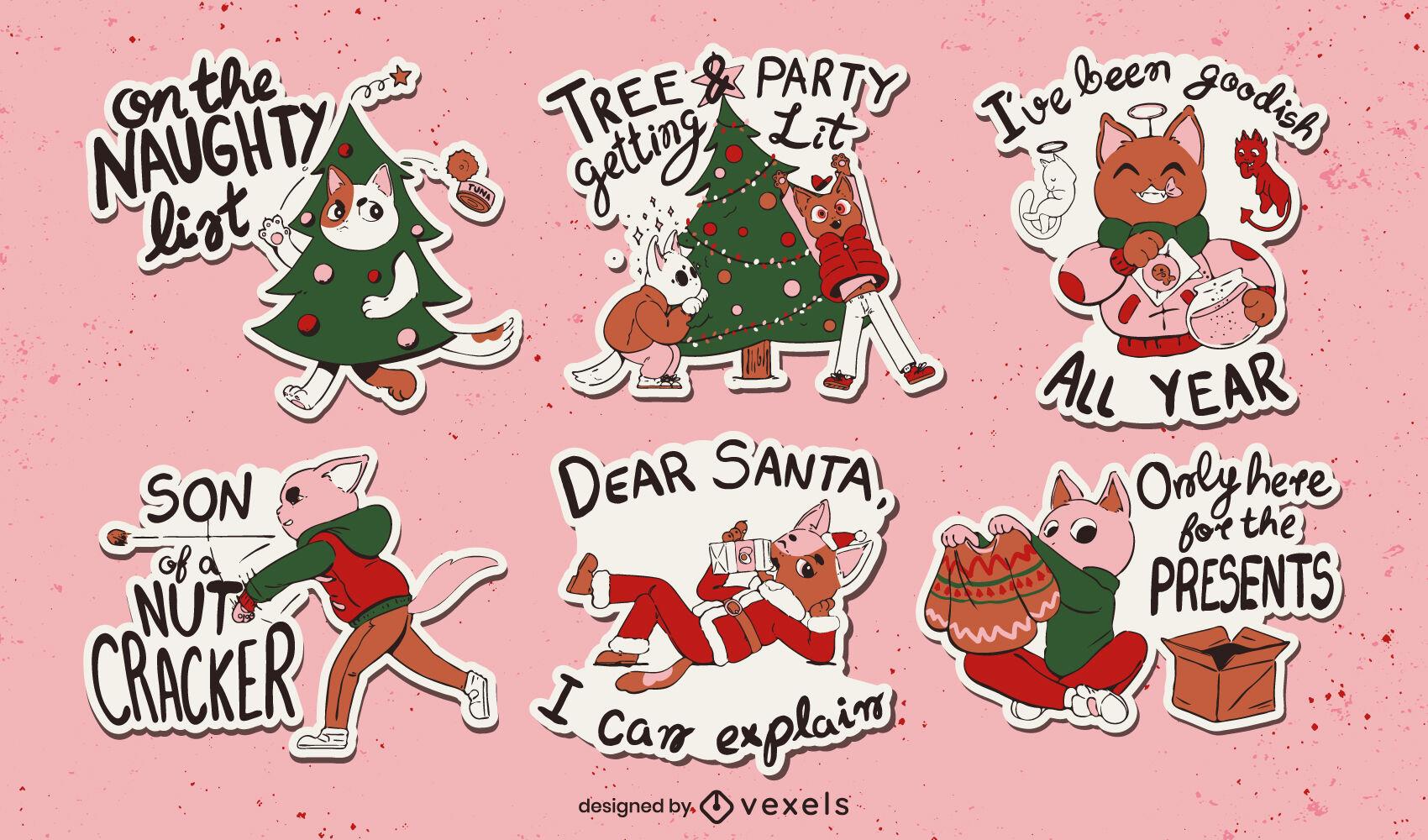 Set de pegatinas de gatos navide?os