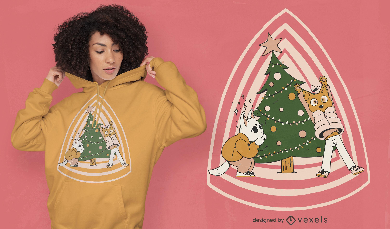 Gatos con diseño de camiseta de árbol de navidad.