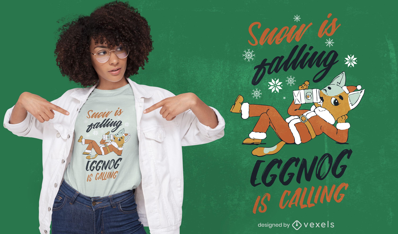 Cat drinking eggnog christmas t-shirt design