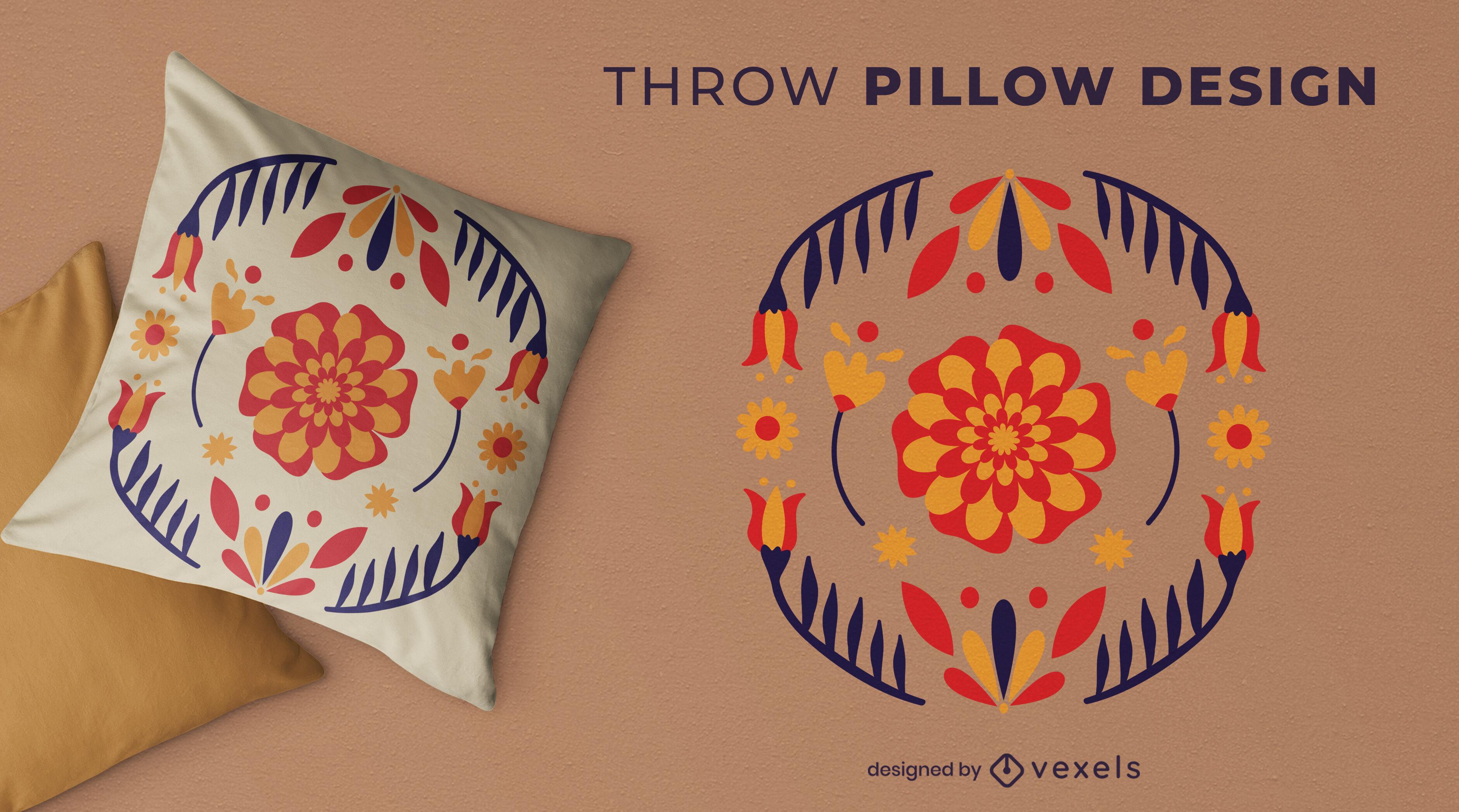 Diseño de almohada de tiro con flores espejadas