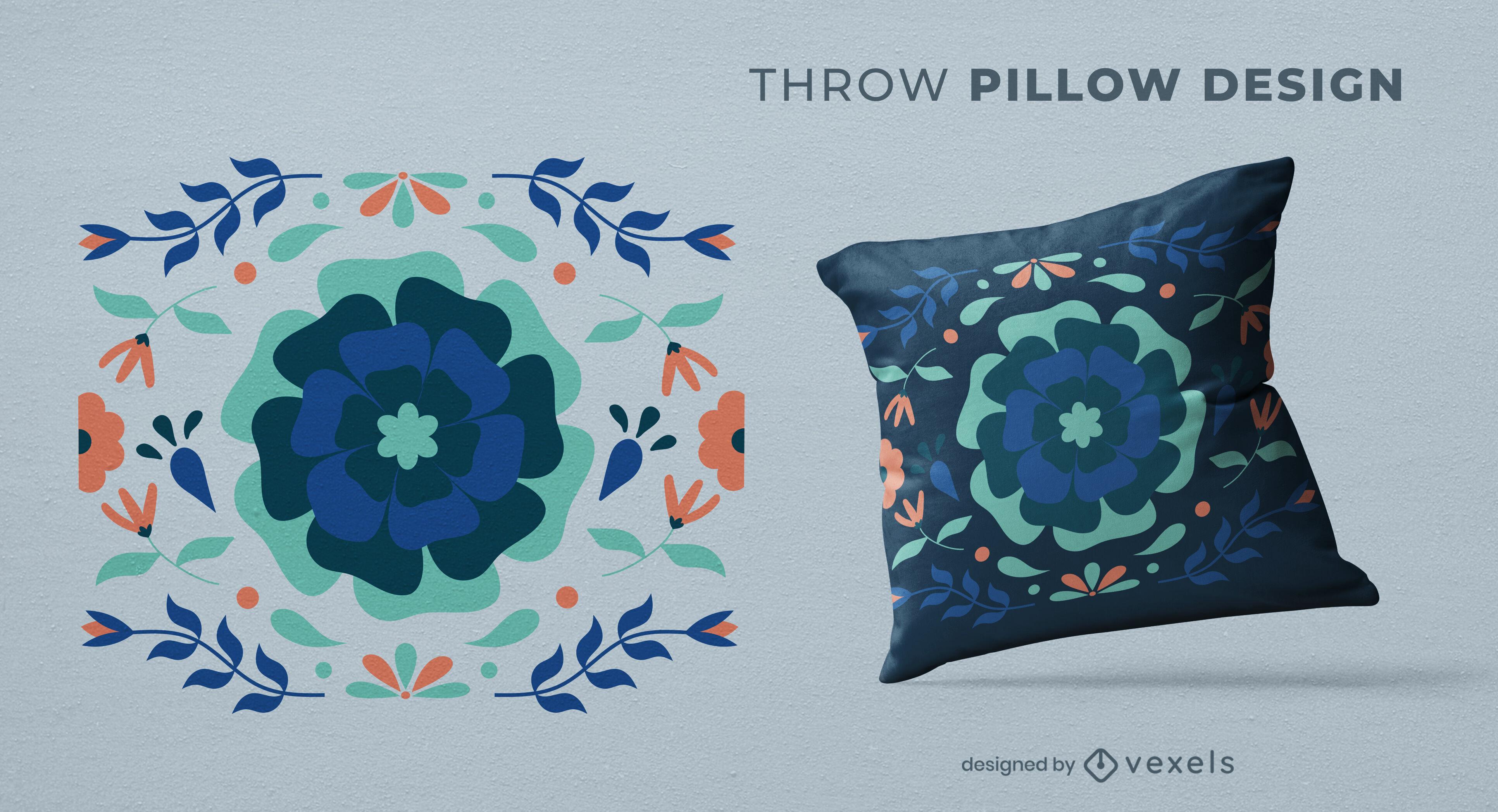 Diseño de almohada de tiro plano de flores azules