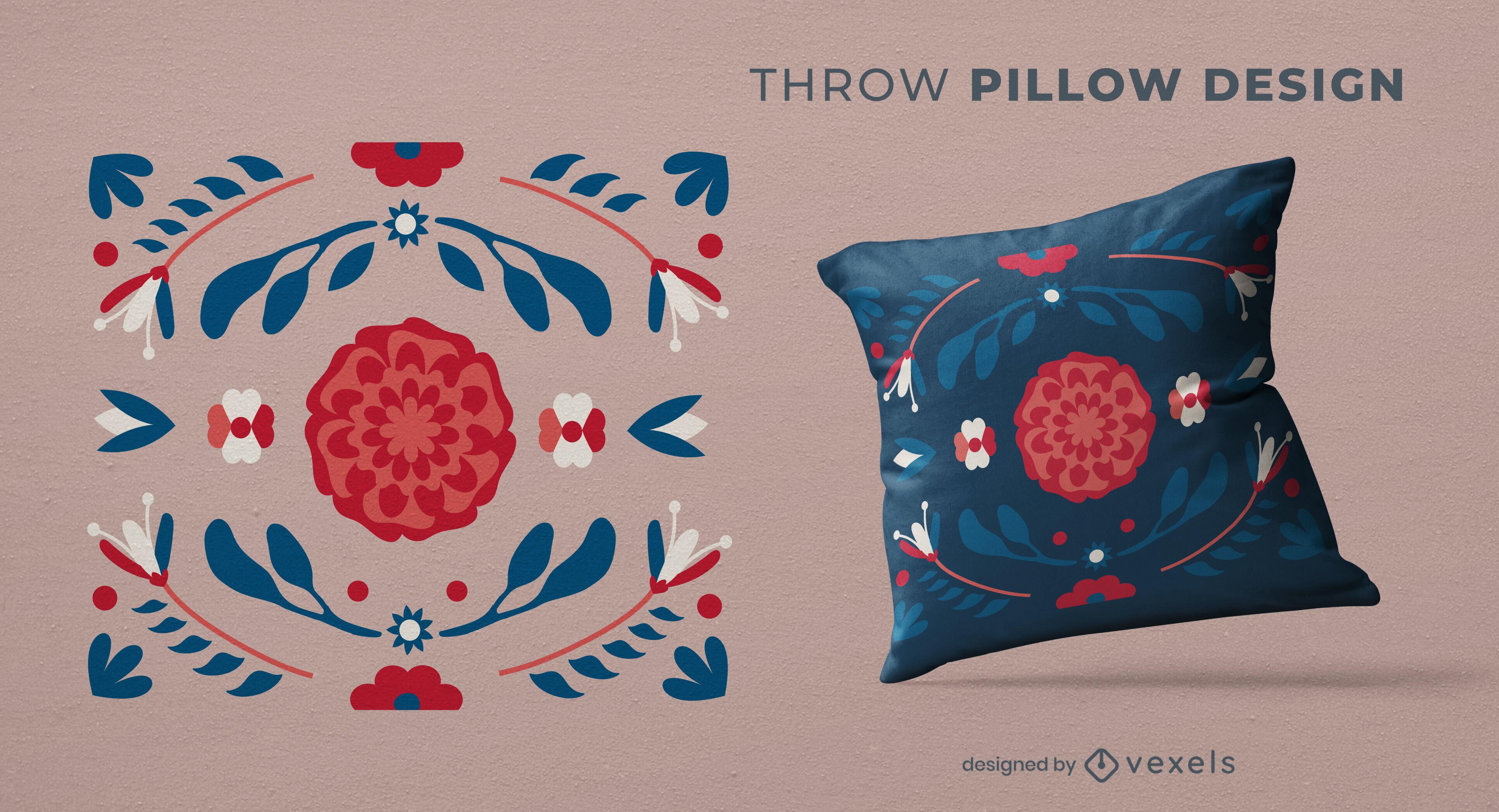 Diseño de almohada de tiro de naturaleza de flores rojas