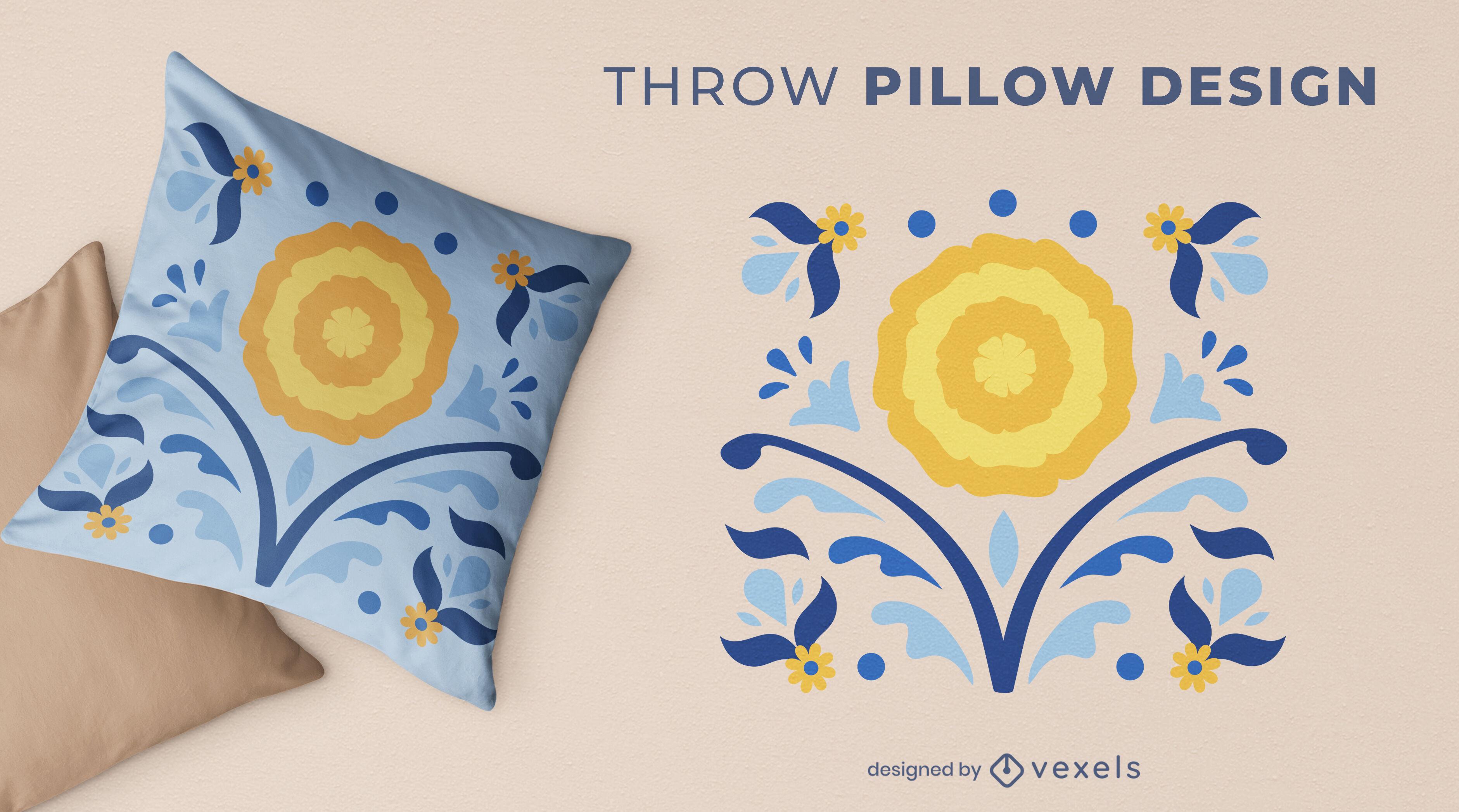 Diseño de almohada de tiro de naturaleza de girasol
