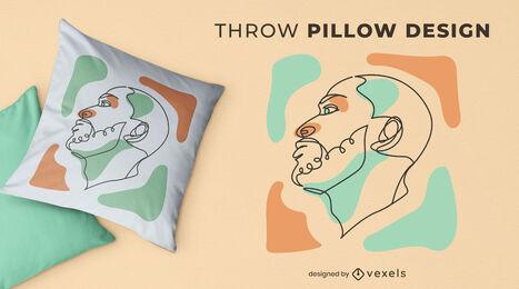 Man face continuous line throw pillow design