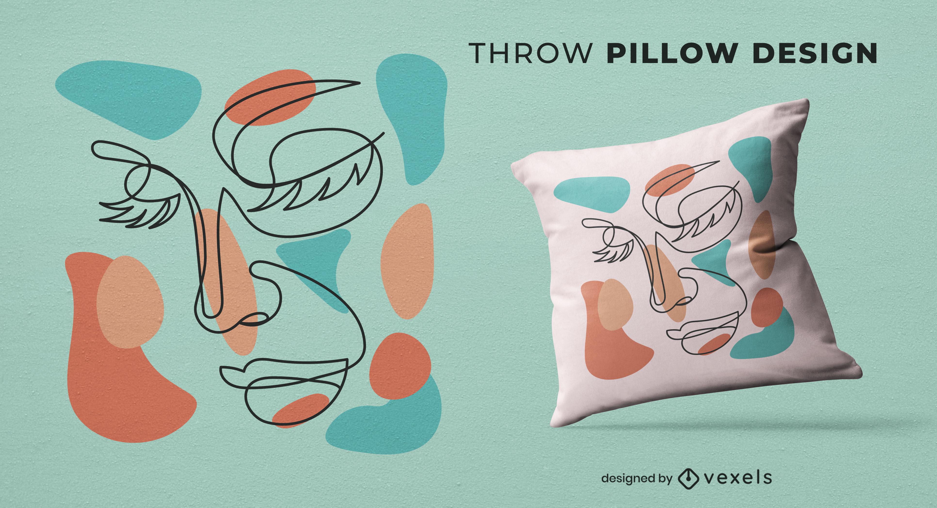 Human face abstract throw pillow design