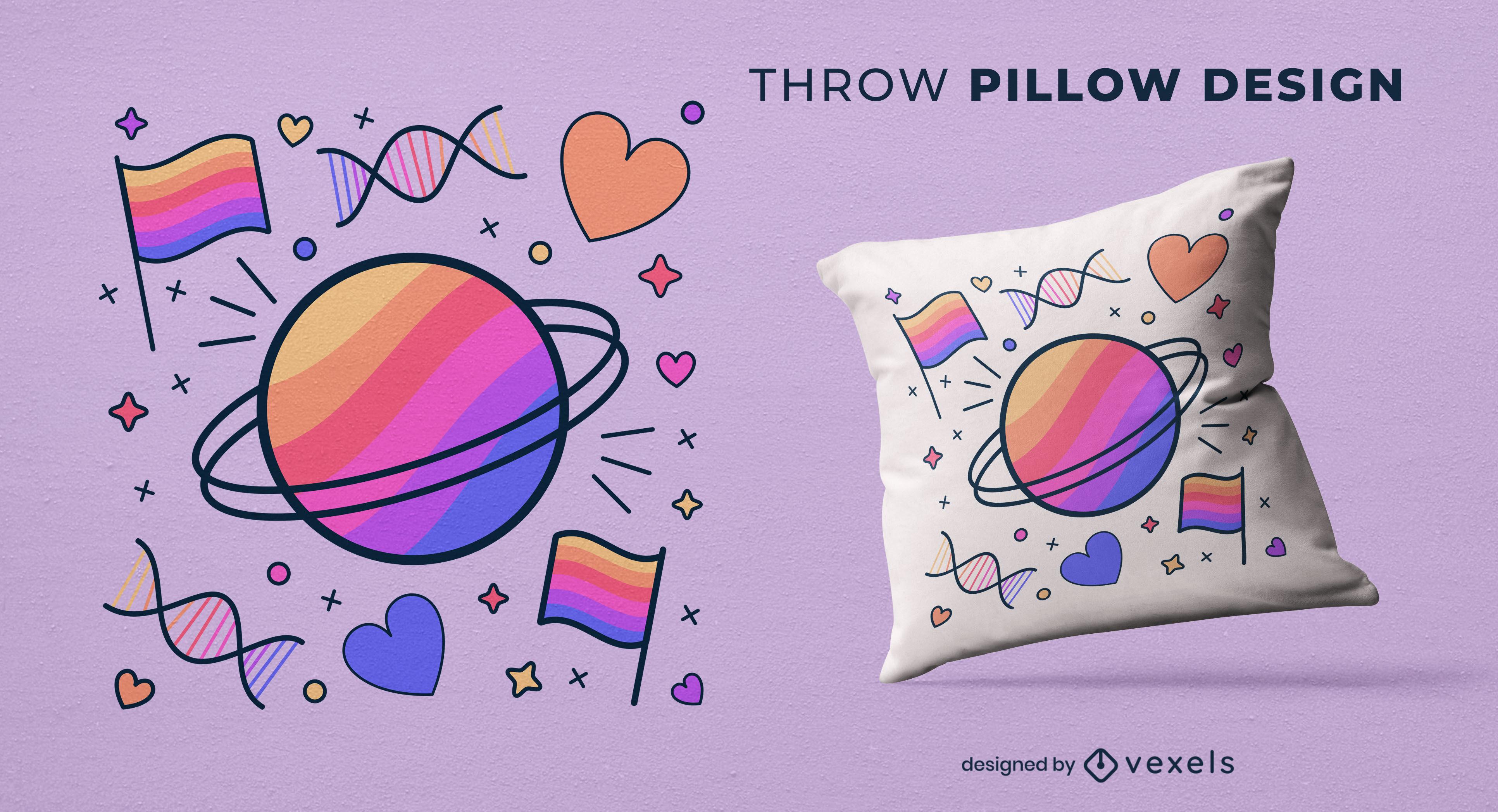Design de almofada com elementos orgulho LGBT