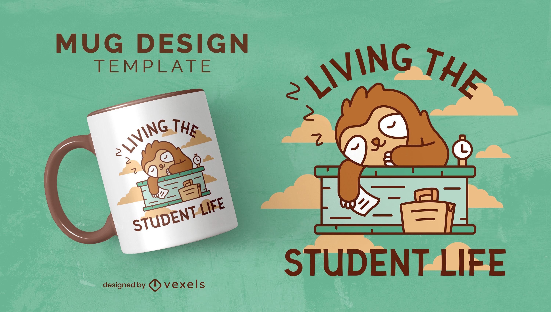 Diseño de taza para dormir estudiante animal perezoso